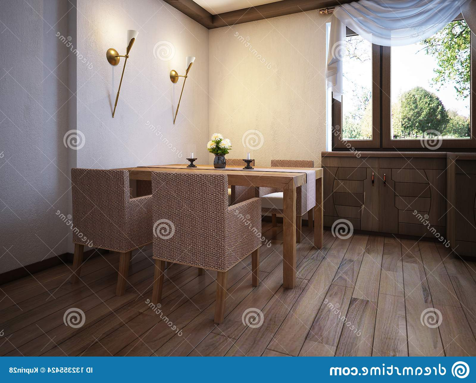 Kitchen Rustic Style With A Dining Table And Wooden With Widely Used Large Rustic Look Dining Tables (View 11 of 30)