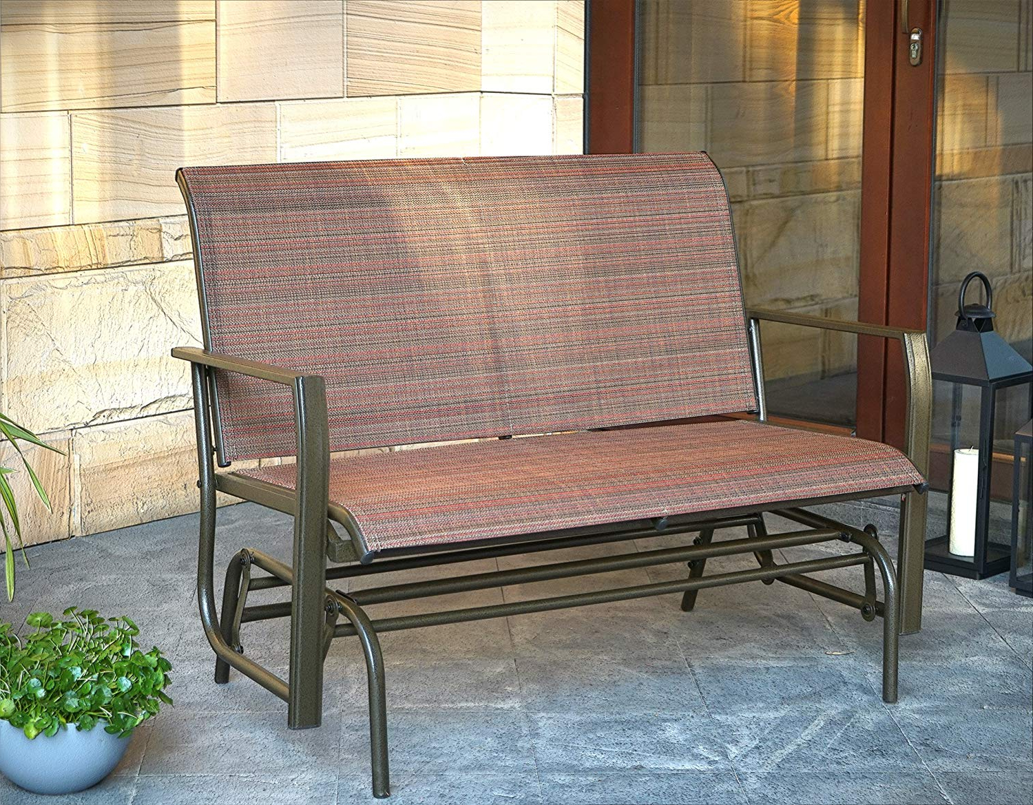 Kozyard Cozy Two Rocking Love Seats Glider Swing Bench/rocker For Patio,  Yard With Textilence Seats And Sturdy Frame (Tan) Throughout Most Up To Date Rocking Love Seats Glider Swing Benches With Sturdy Frame (View 8 of 30)