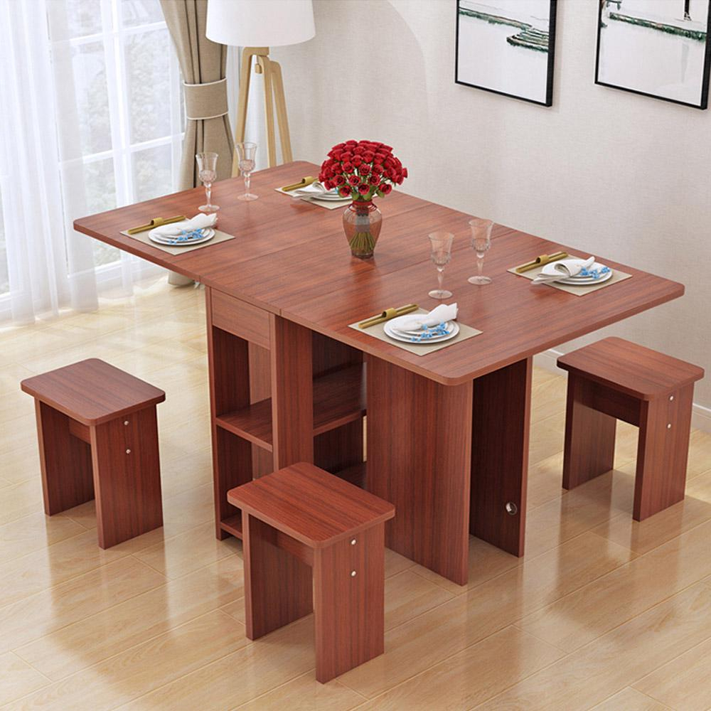 Kruzo Florence Extendable Folding Dining Table Set With 4 Chairs With Current 8 Seater Wood Contemporary Dining Tables With Extension Leaf (View 24 of 30)