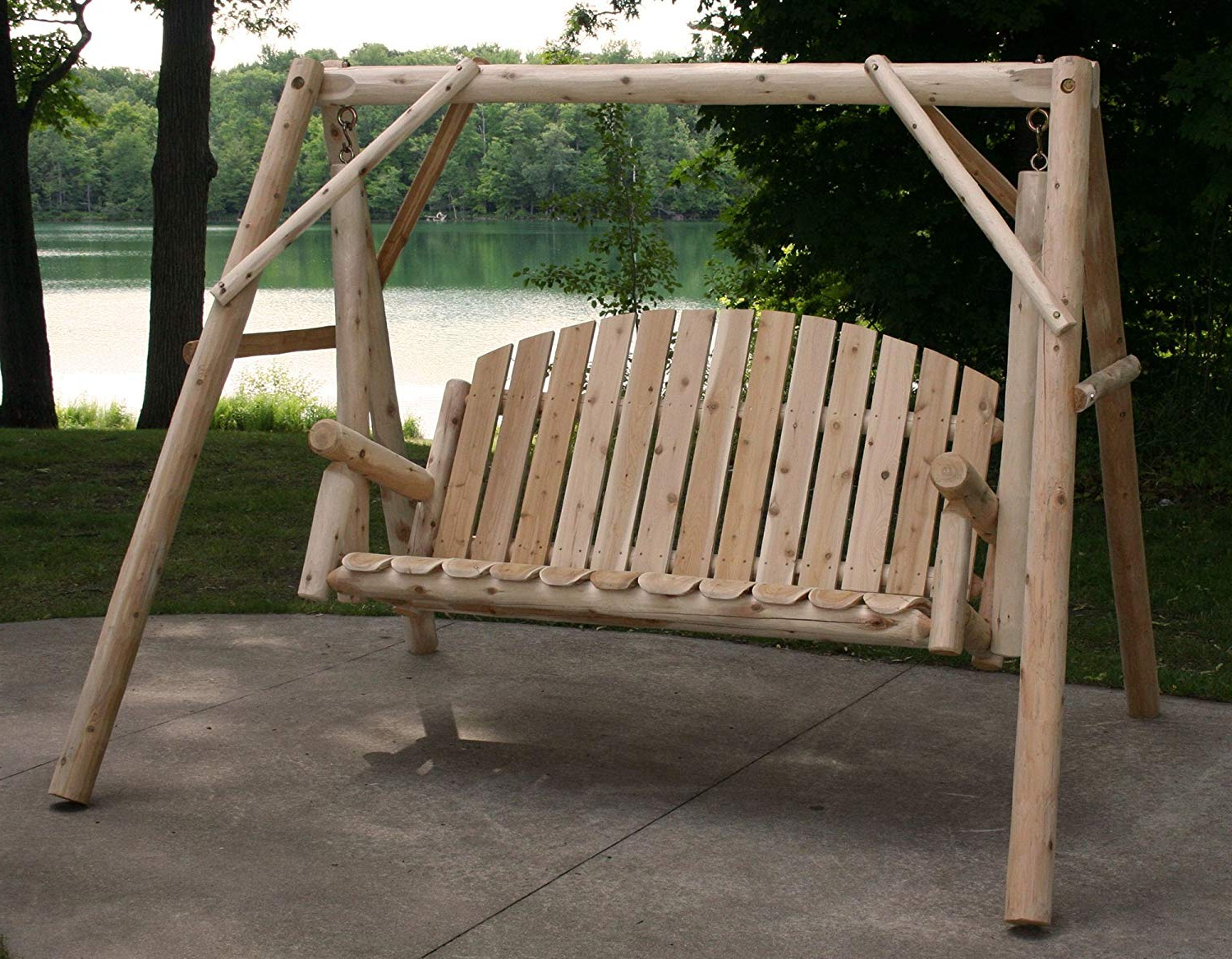 Lakeland Mills Country Garden Swing For Most Up To Date 3 Person Light Teak Oil Wood Outdoor Swings (View 14 of 30)