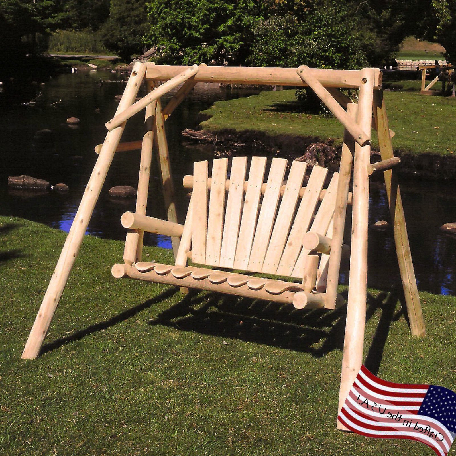 Lakeland Mills White Cedar Log Porch Swing And Stand Set – Walmart Throughout Most Recently Released Porch Swings With Stand (View 6 of 30)