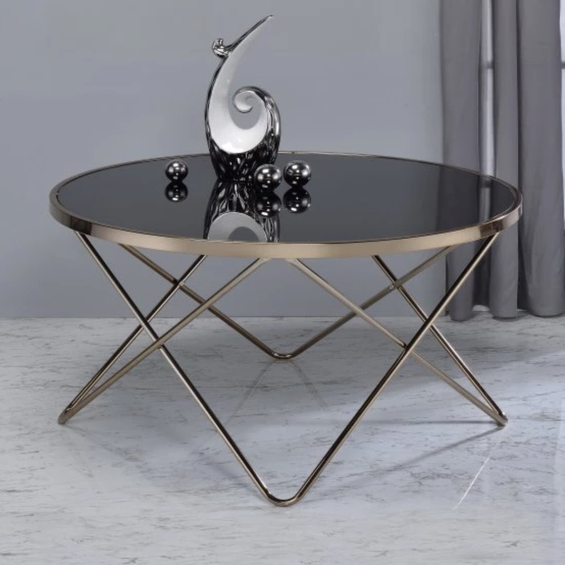 Large Round Coffee Table Black Glass Top Mid Century Modern Retro Cocktail Metal With Regard To Widely Used Retro Round Glasstop Dining Tables (View 21 of 30)