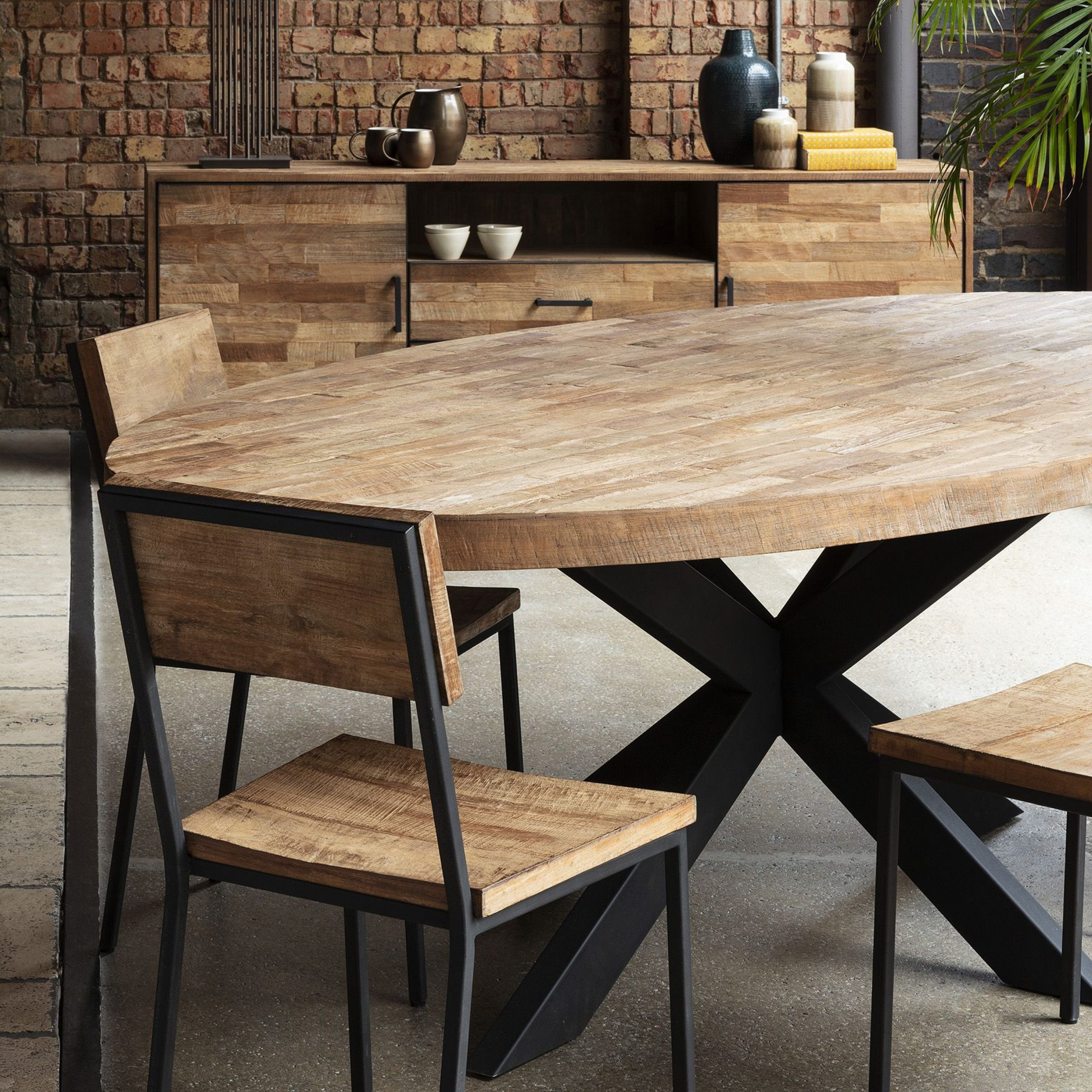 Large Round Dining Inside Current Acacia Wood Top Dining Tables With Iron Legs On Raw Metal (View 12 of 30)