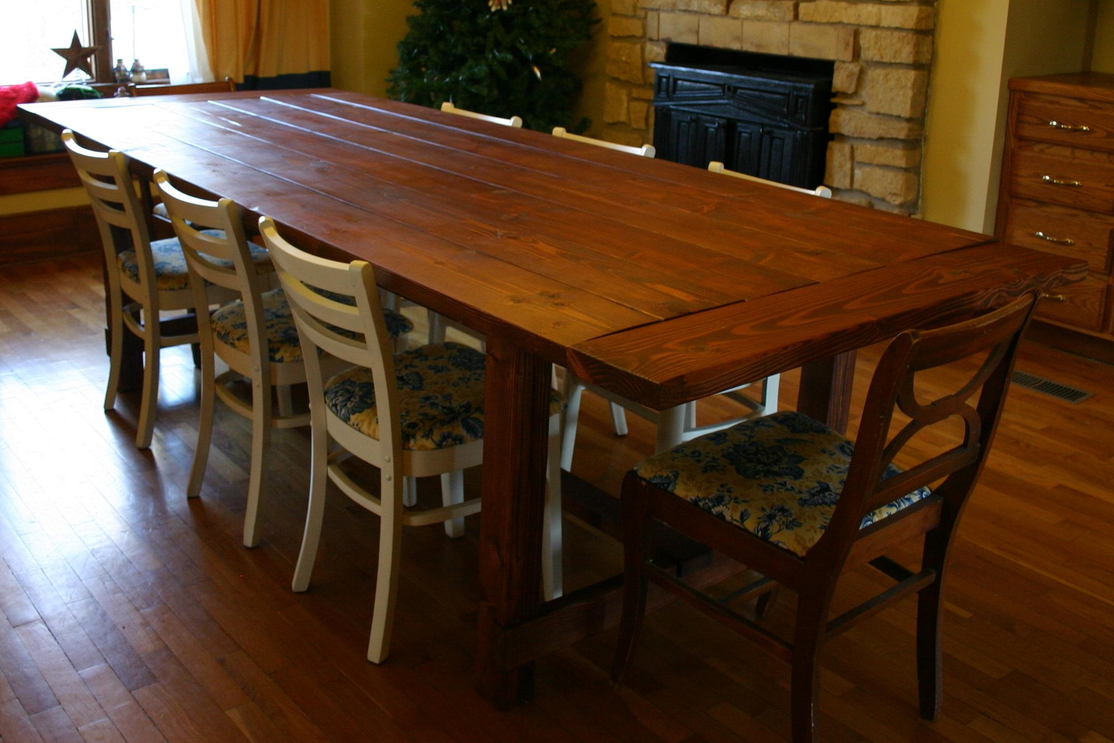 Large Rustic Look Dining Tables For Most Current 10 Seat Dining Table And Chairs : Modern Kitchen Furniture (View 12 of 30)