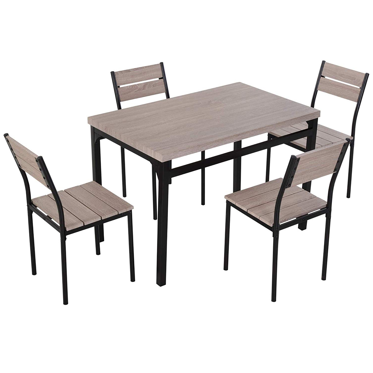 Large Rustic Look Dining Tables Intended For Most Recent Homcom 5 Piece Transitional Style Dining Room Table Set With Chairs (View 16 of 30)