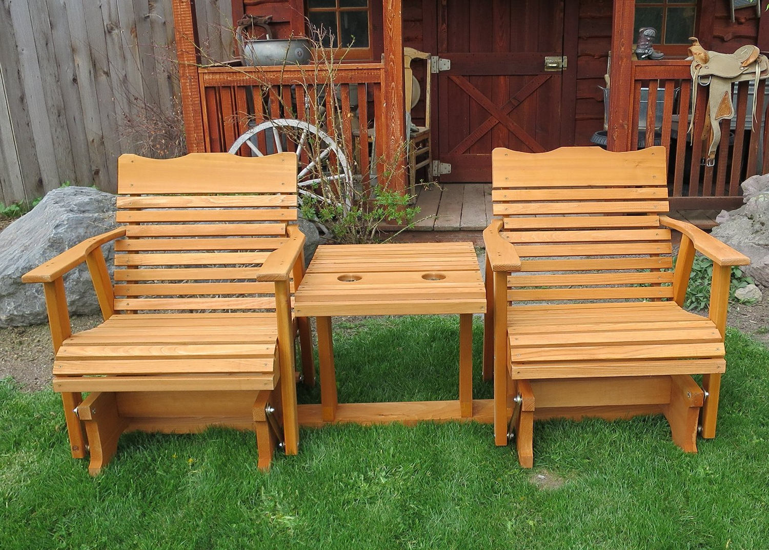 Latest 2 Person Natural Cedar Wood Outdoor Gliders Throughout Gliders (View 5 of 30)