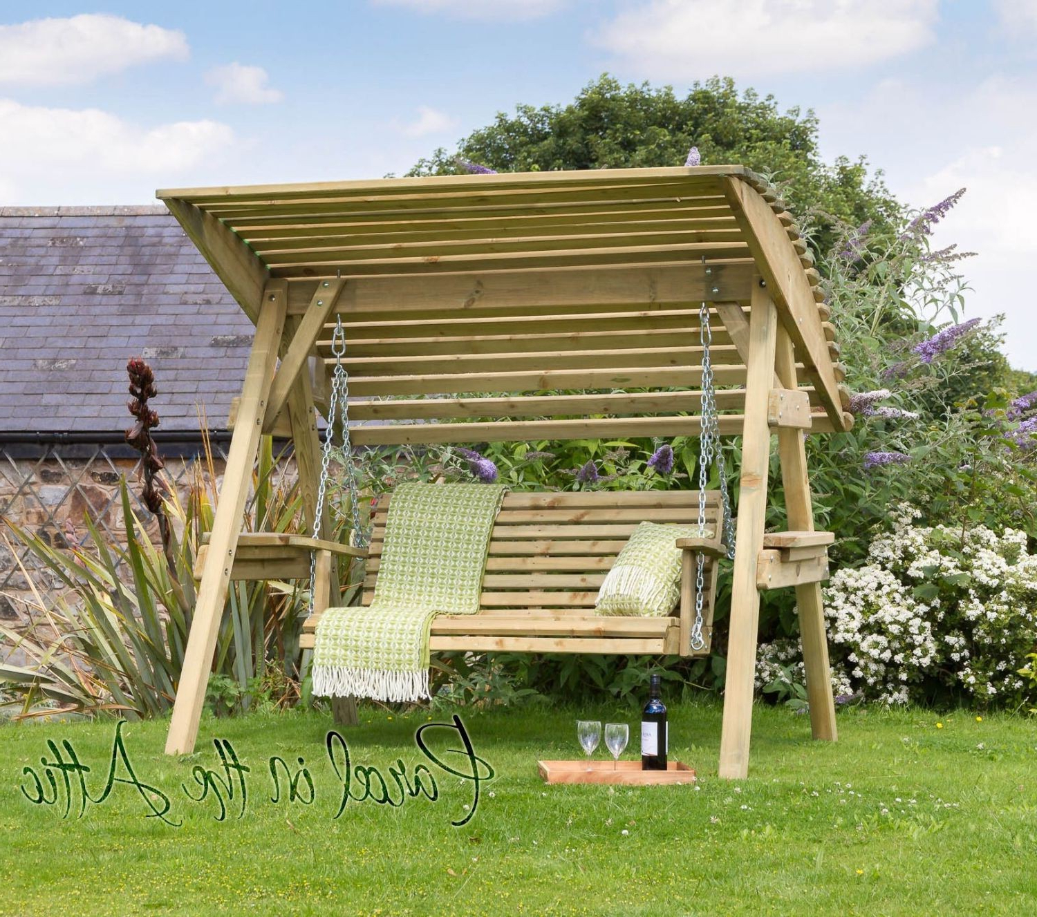 Latest 2 Seat Wooden Garden Swing With Canopy With Rattan Garden Swing Chairs (View 29 of 31)