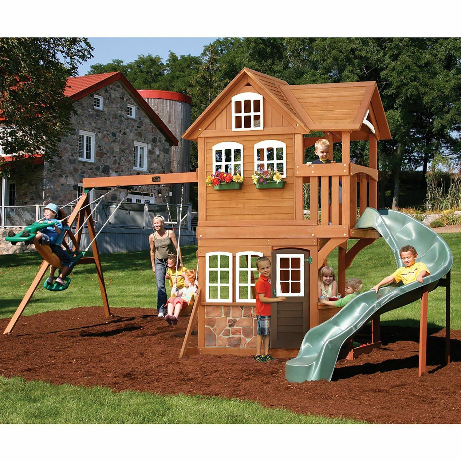Latest 3 Person Natural Cedar Wood Outdoor Swings With Regard To Cedar Swing Playset Outdoor Playground Backyard Clubhouse Slide (View 24 of 30)