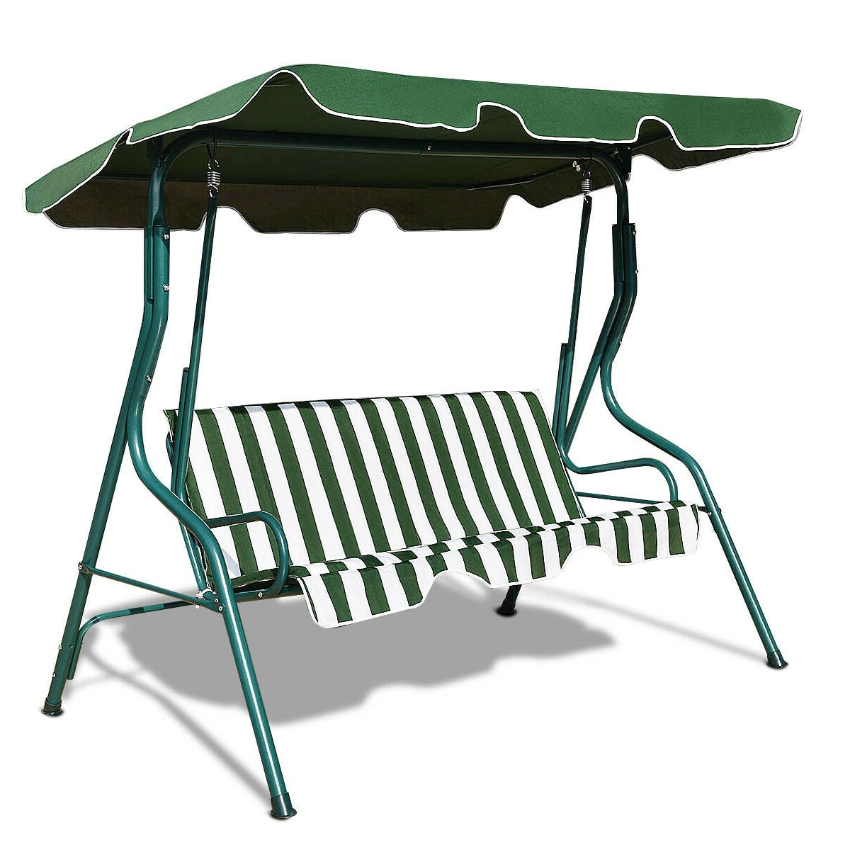 Latest 3 Seats Patio Canopy Swing Gliders Hammock Cushioned Steel Frame For Costway 3 Seats Patio Canopy Swing Glider Hammock Cushioned Steel Frame  Backyar Green (View 18 of 30)