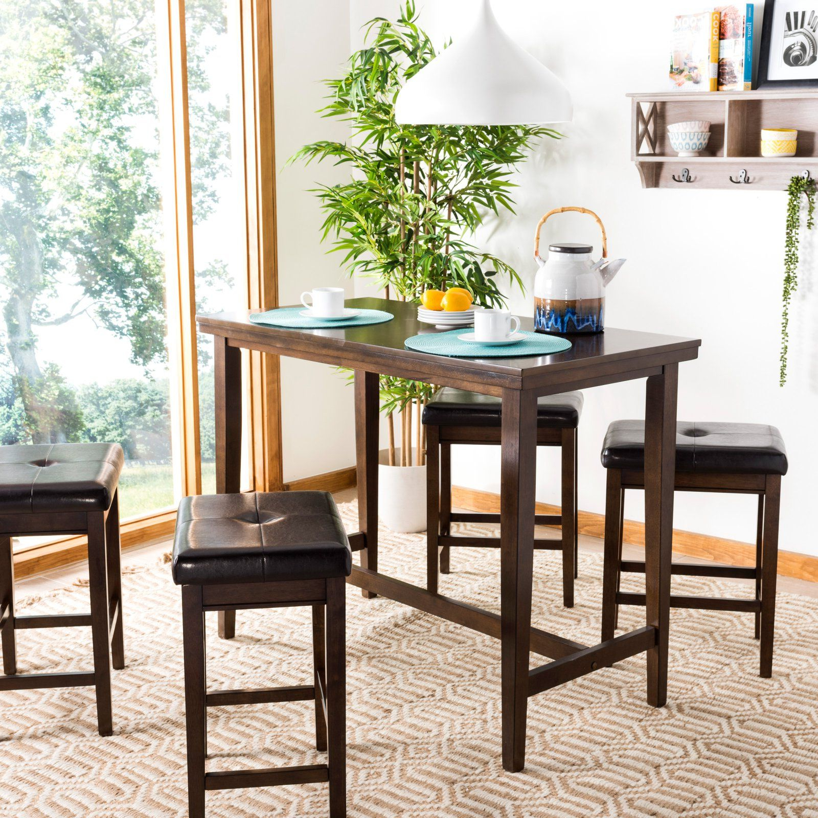 Latest Acacia Dining Tables With Black Rocket Legs Within Safavieh Billy 5 Piece Pub Table Set In  (View 14 of 30)
