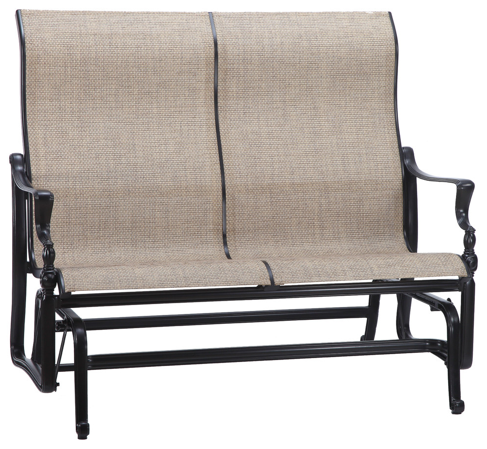 Latest Bel Air Sling High Back Loveseat Glider, Shade, System Stone For Speckled Glider Benches (View 27 of 30)