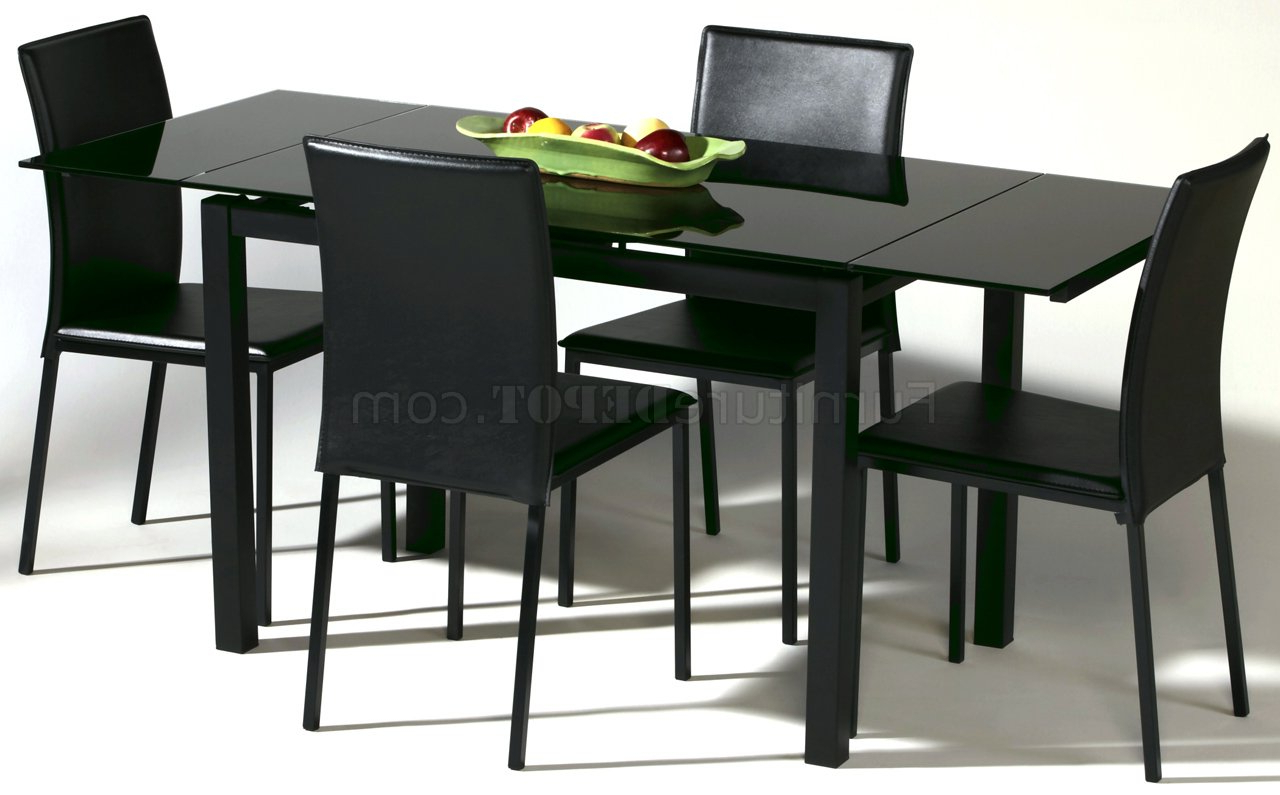 Latest Black Glass Top Modern Dining Table W/optional Chairs With Regard To Modern Glass Top Extension Dining Tables In Matte Black (View 12 of 30)