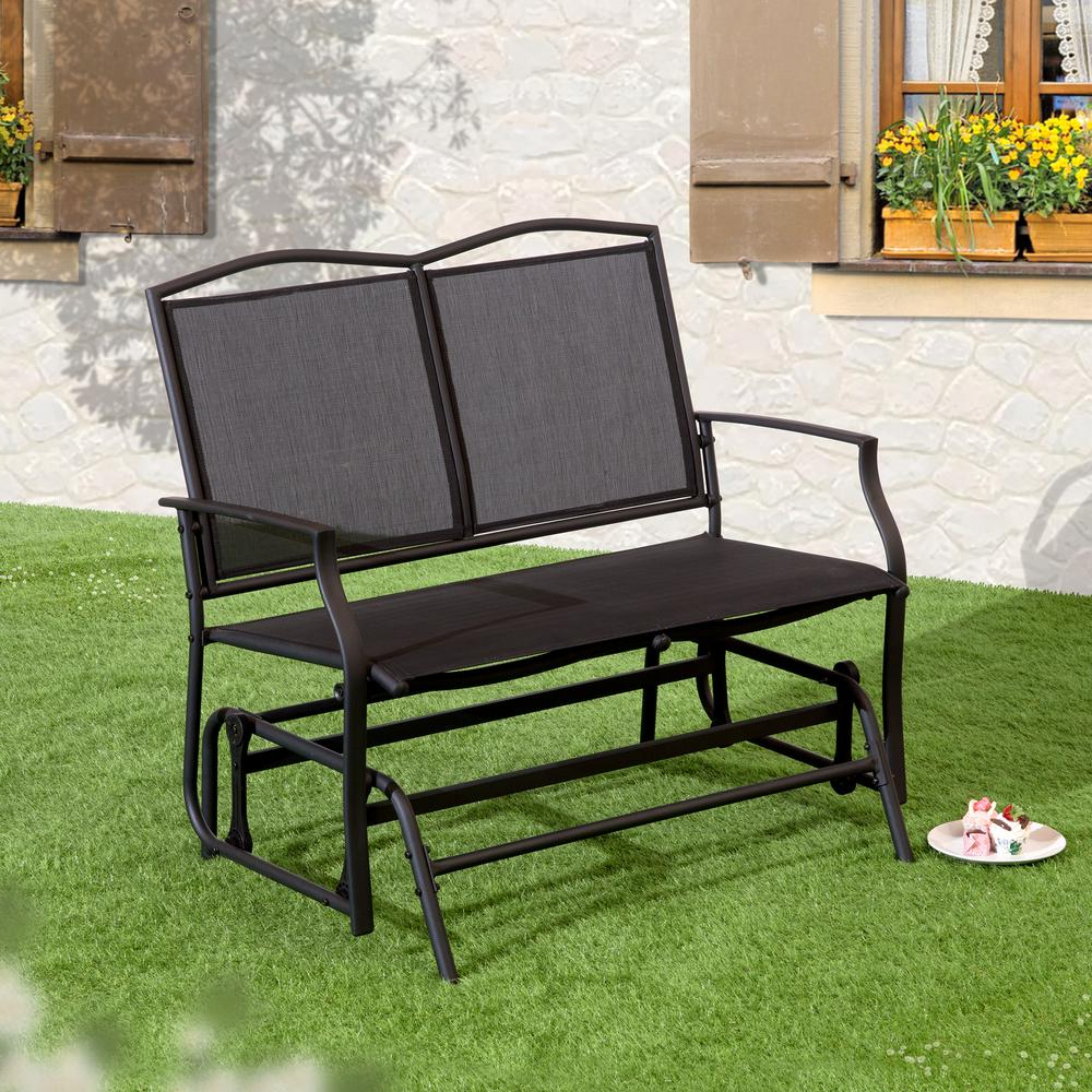 Latest Black Outdoor Durable Steel Frame Patio Swing Glider Bench Chairs Regarding Suntime Outdoor Living 1 Piece Black Steel Outdoor Swing Glider Bench (View 16 of 30)