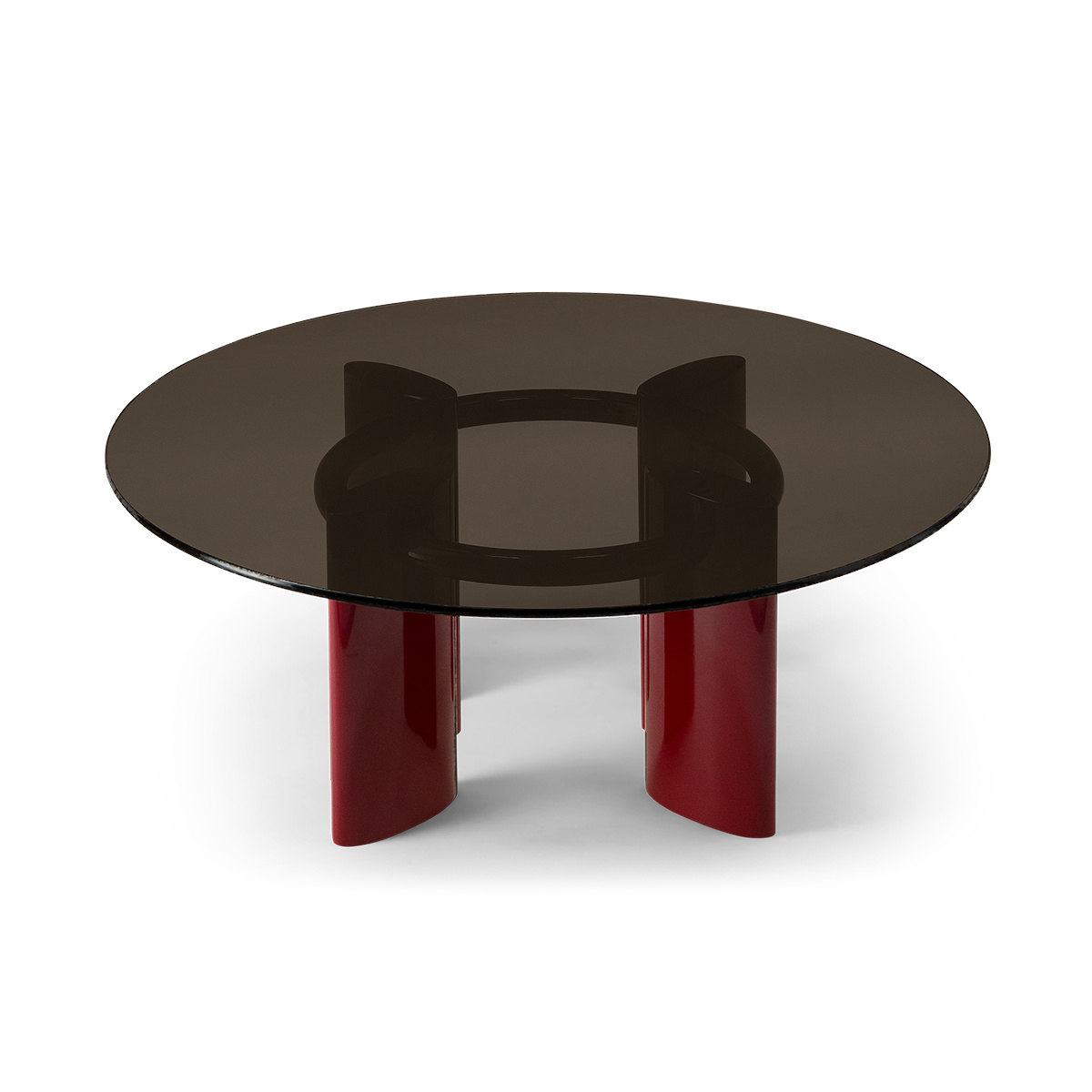 Latest Carlotta Coffee Table, Smoked Glass Top And Red Legs Within Smoked Oval Glasstop Dining Tables (View 7 of 30)