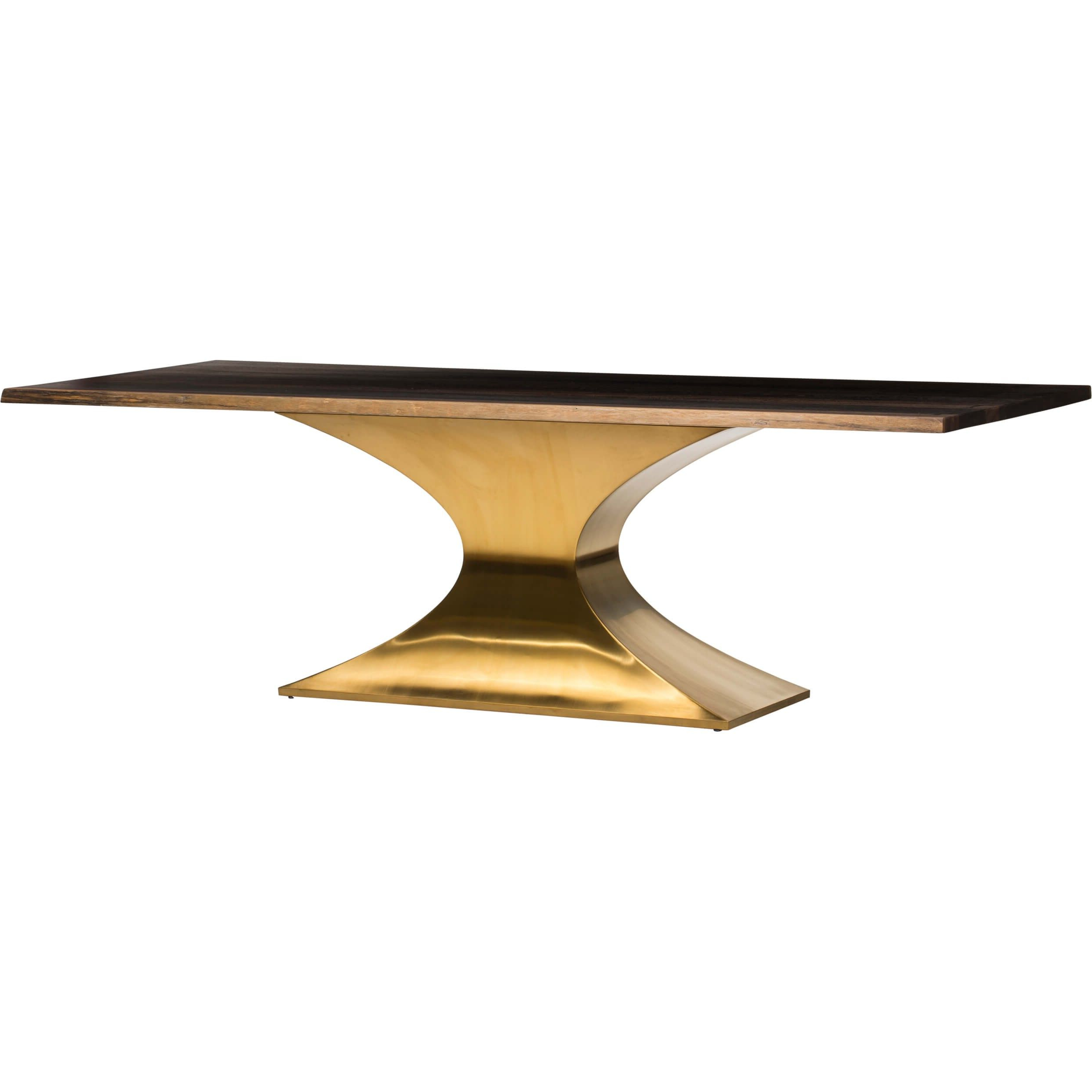 Latest Dining Tables In Seared Oak With Brass Detail Pertaining To Praetorian Dining Table, Seared Oak/brushed Gold Base (View 11 of 30)