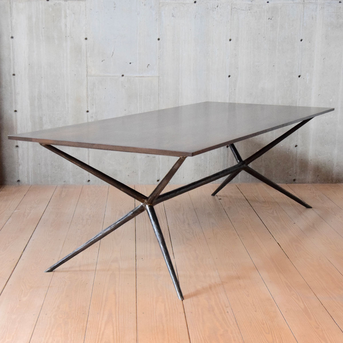 """Latest Dining Tables With Stained Ash Walnut Inside Italian Job 96"""" Dining Table, Blackened Steel, Walnut Stained Ash Top, Chamfered Edge (View 18 of 30)"""