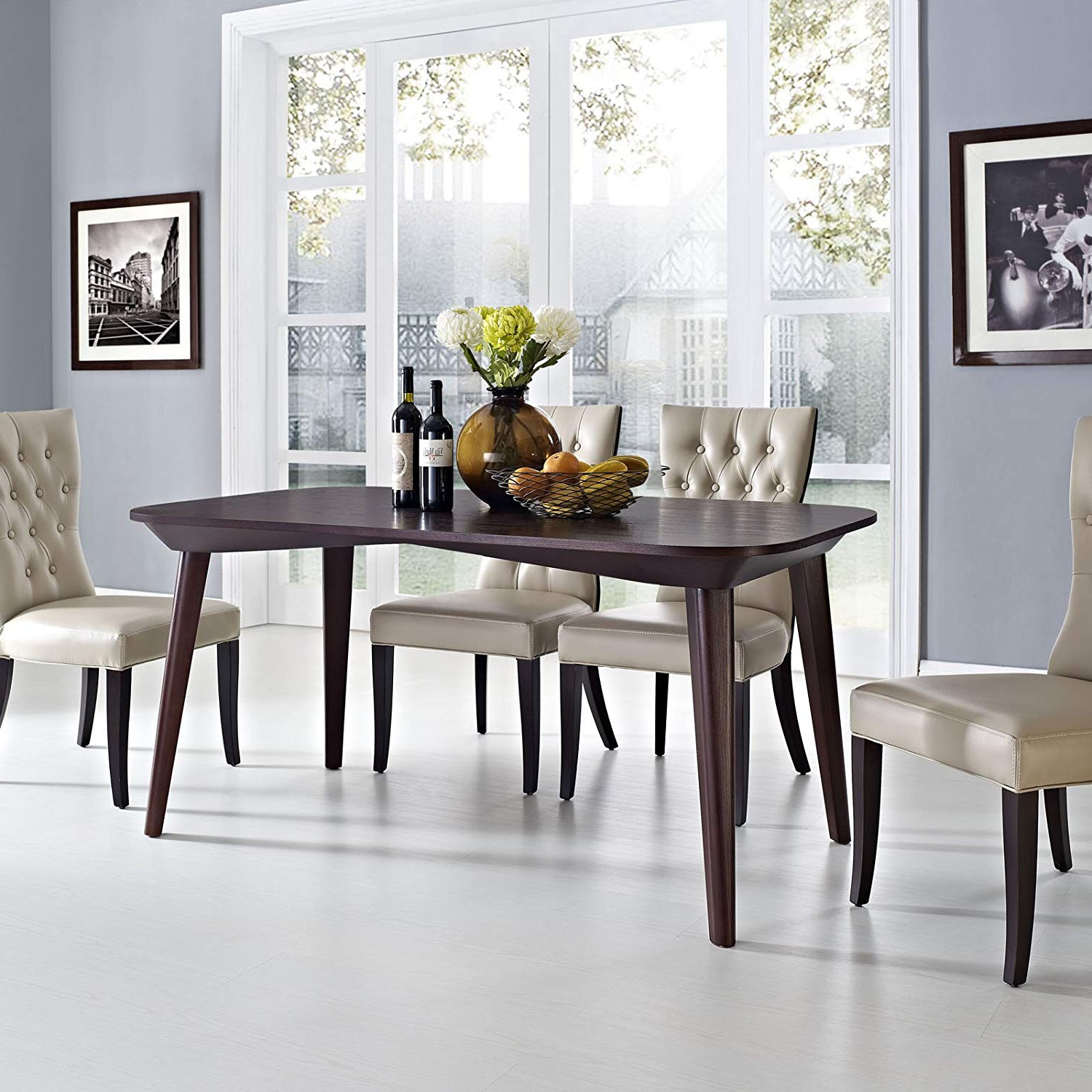 Latest Frosted Glass Modern Dining Tables With Grey Finish Metal Tapered Legs Throughout Amazon – Modway Enterprise Dining Table In Walnut – Tables (View 9 of 30)