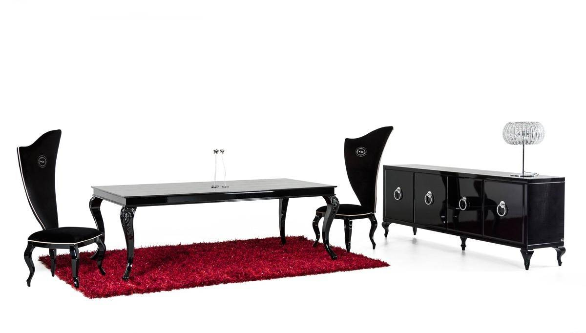 Latest Glam Black Crocodile Dining Table W/ Glossy Legs Vig A&x Within Dining Tables With Black U Legs (View 19 of 30)