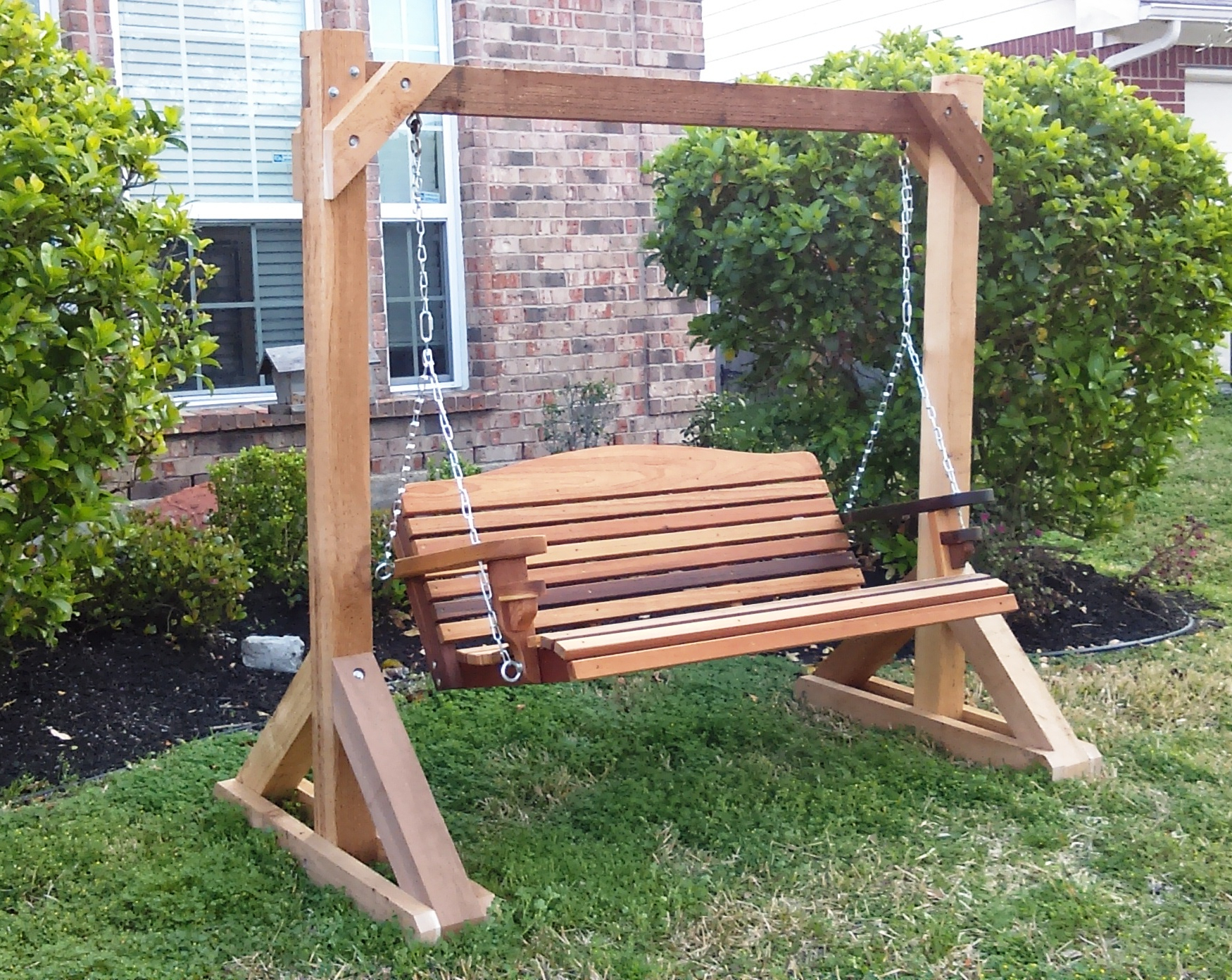 Latest Inspirations: Enjoy Your All Day With Cozy Wooden Porch With Wicker Glider Outdoor Porch Swings With Stand (View 14 of 30)