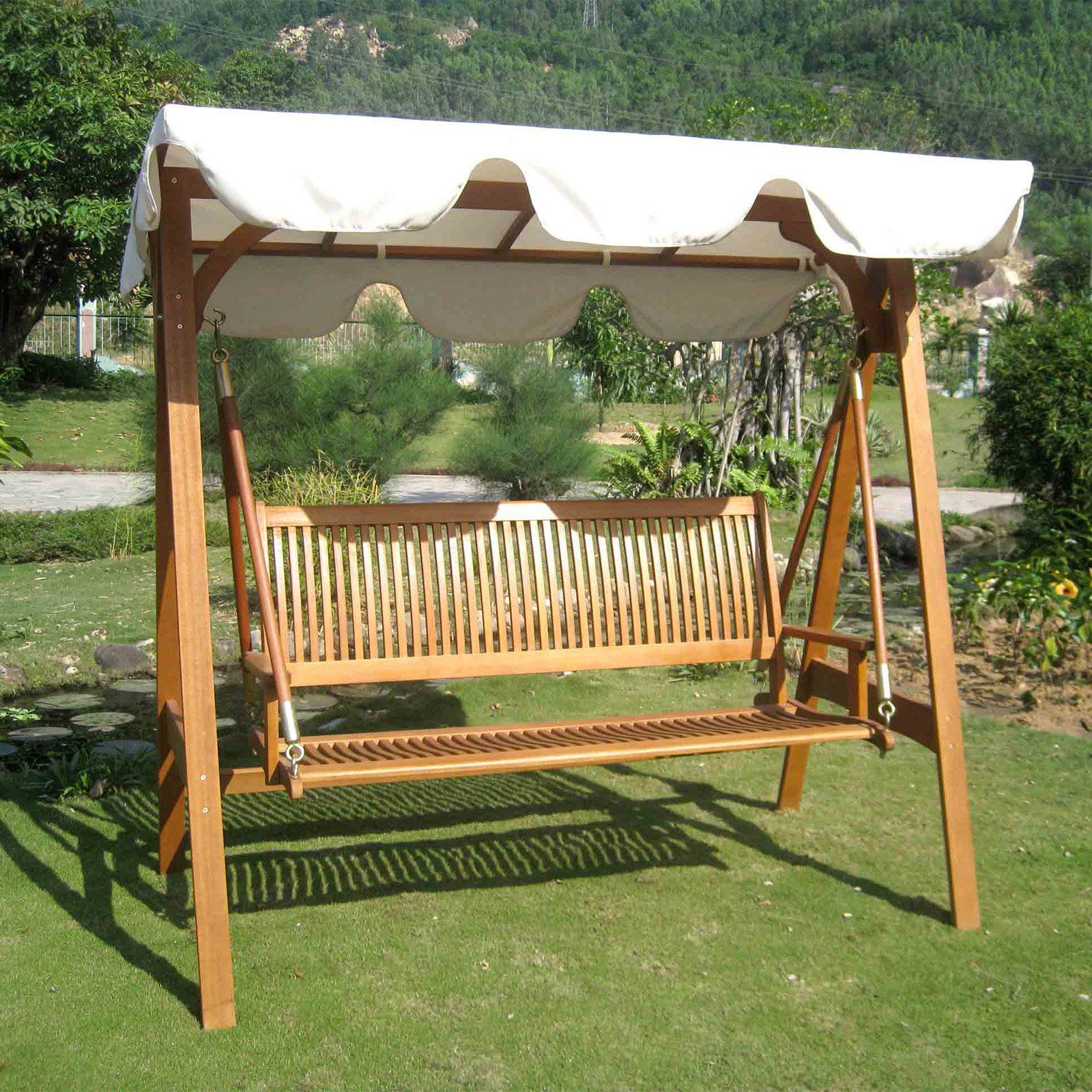 Latest International Caravan Royal Tahiti 3 Seater Patio Swing With For 3 Seat Pergola Swings (View 3 of 30)