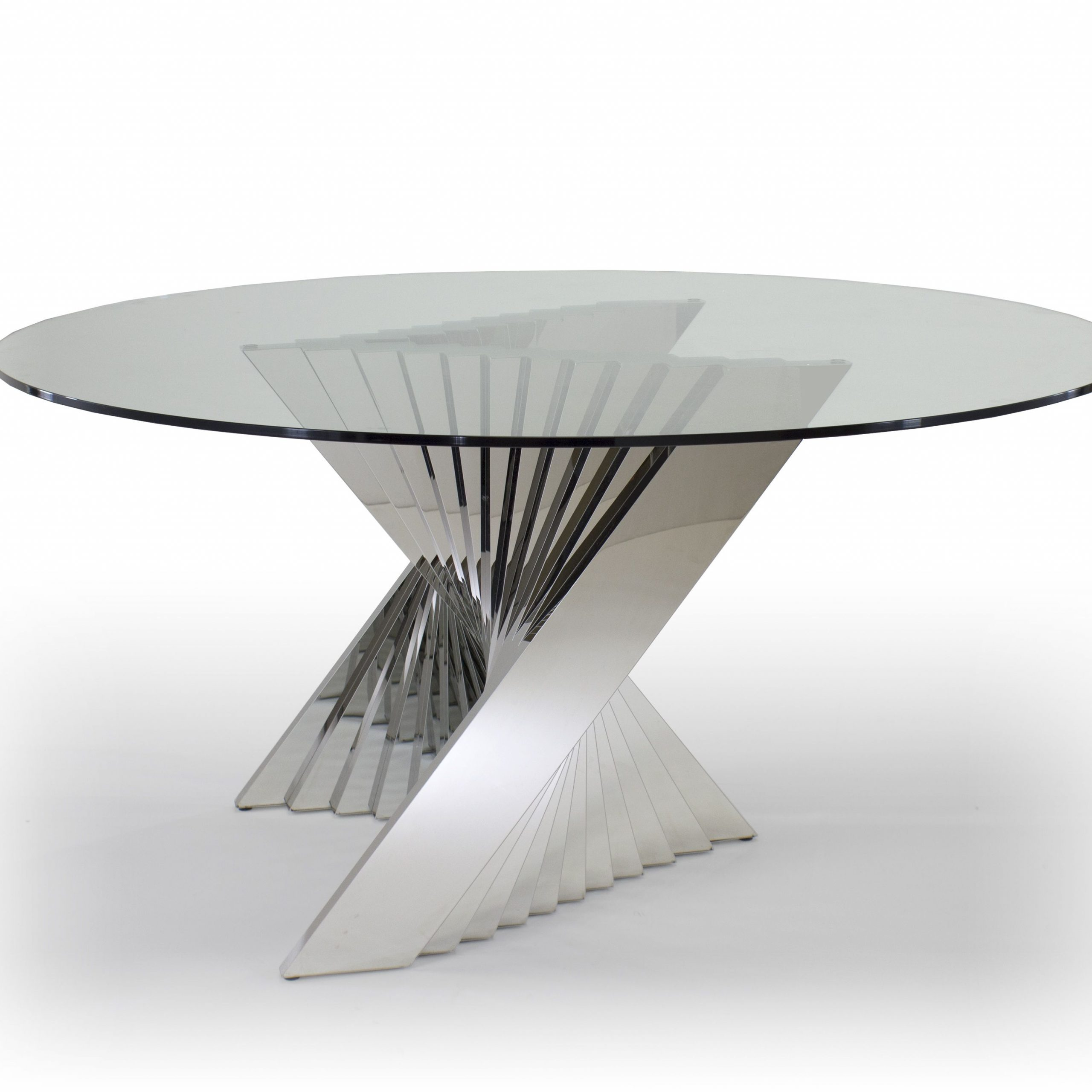 Latest Long Dining Tables With Polished Black Stainless Steel Base Pertaining To Ace Dining Table – Round Glass Top And Metal Base Dining (View 2 of 30)