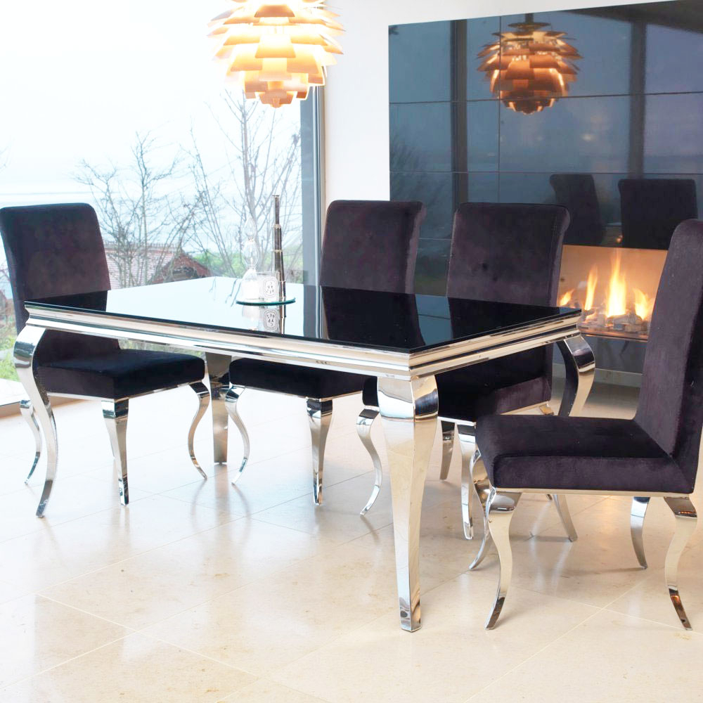 Latest Louis Contemporary Black Or White Glass & Chrome (View 17 of 30)