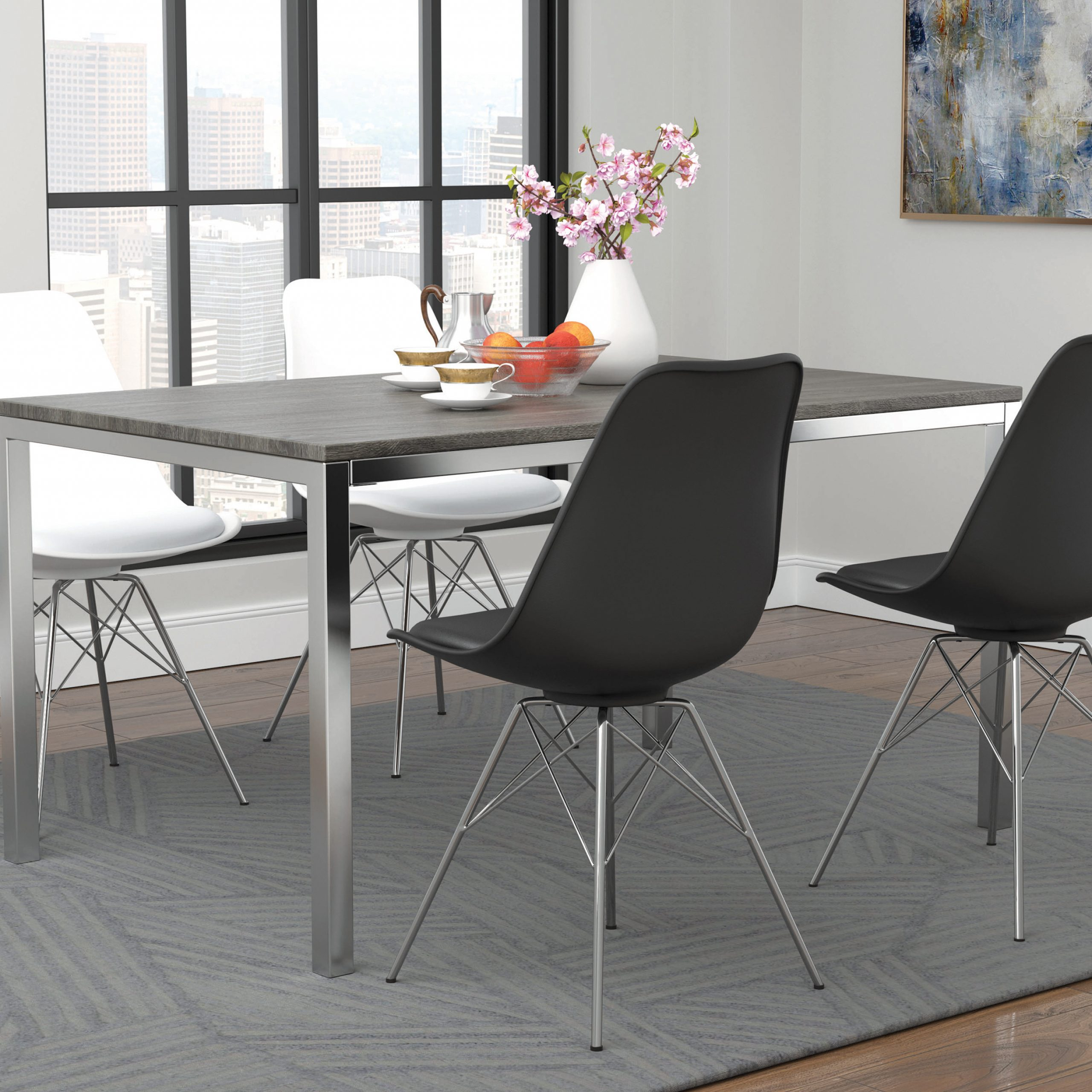 Latest Mckenzie Rectangular Dining Table Weathered Grey And Chrome For Chrome Contemporary Square Casual Dining Tables (View 18 of 30)