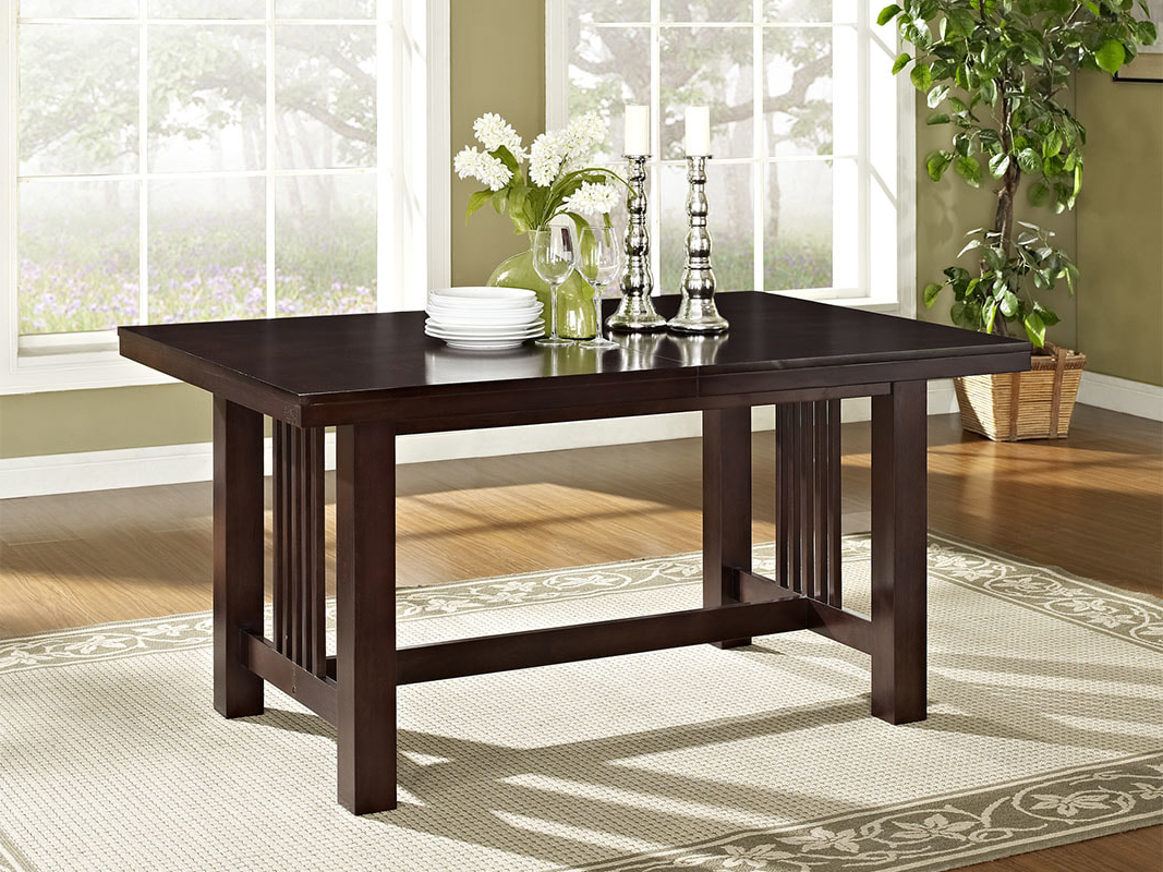 Latest Meridian Wood Dining Table – Walker Edison With Wood Kitchen Dining Tables With Removable Center Leaf (View 9 of 30)