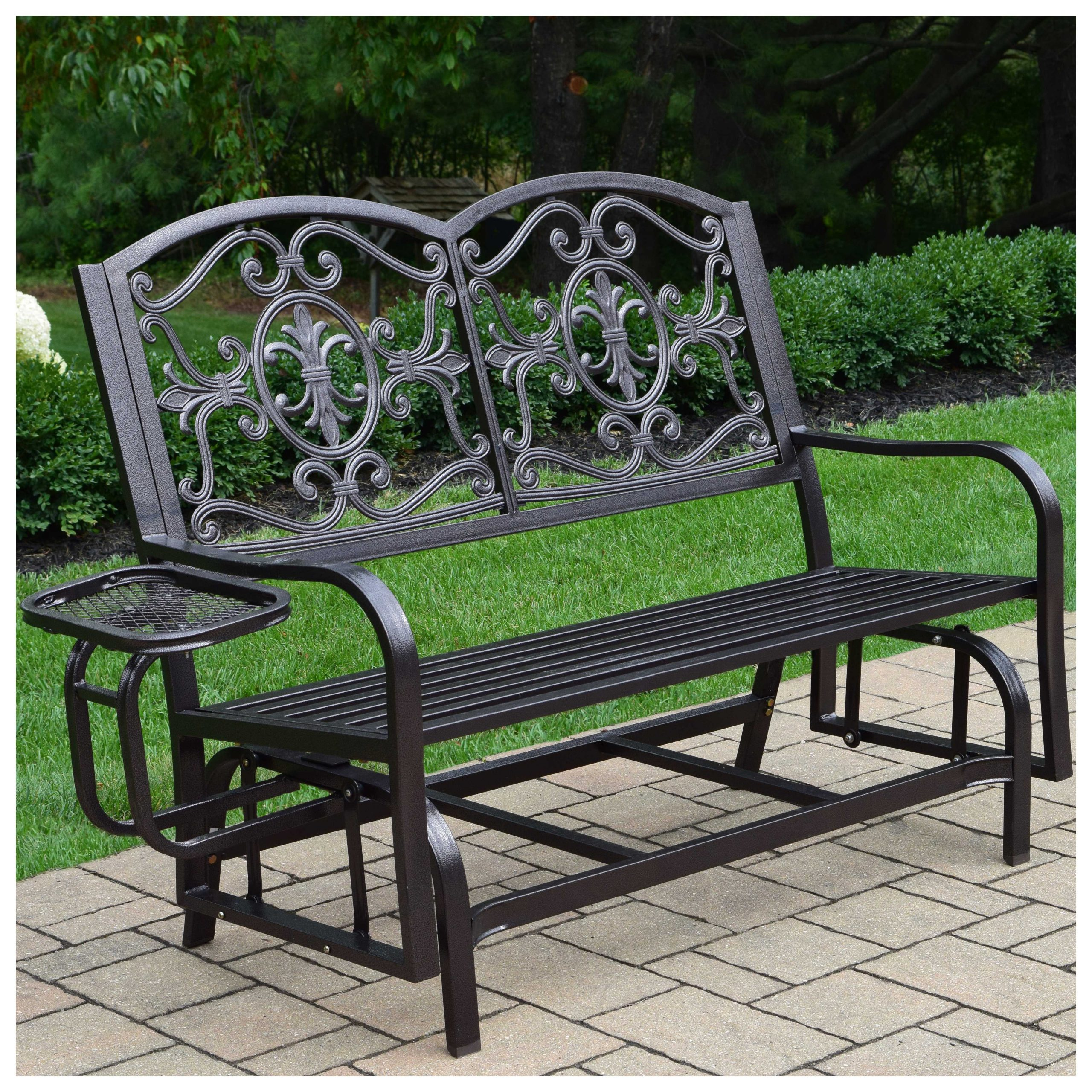 Latest Metal Powder Coat Double Seat Glider Benches For Oakland Living Lakeville Double Glider With Side Tray Patio (View 10 of 30)