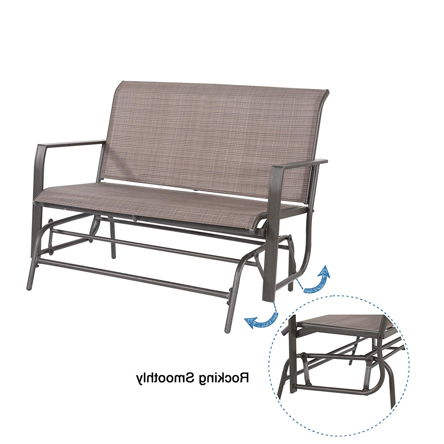 Latest Outdoor Patio Swing Glider Bench Chairs For Homevibes Patio Swing Glider Bench Outdoor Rocking Chair (View 23 of 30)