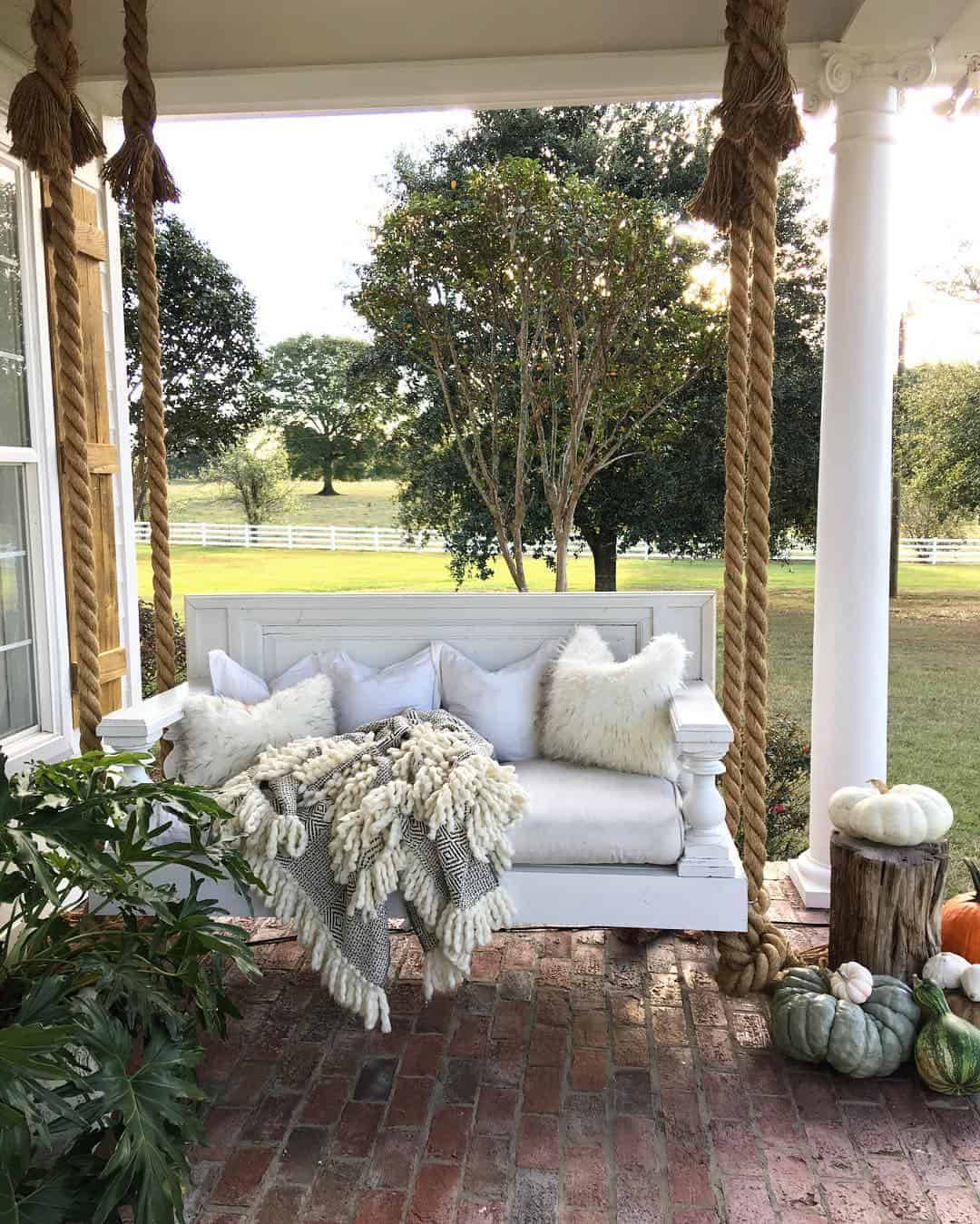 Latest Patio Hanging Porch Swings Regarding Scenic Swinging Porch Bed Rustic Farmhouse Hanging Swing (View 10 of 30)