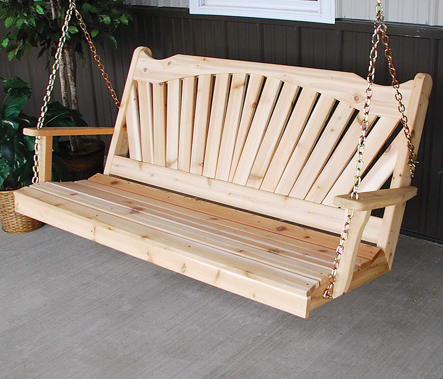 Latest Patio Hanging Porch Swings With Aspen Tree Interiors Cedar Porch Swing, Amish Outdoor Hanging Porch Swings, Patio Wooden 2 Person Seat Swinging Bench, Weather Resistant Western Red (View 5 of 30)