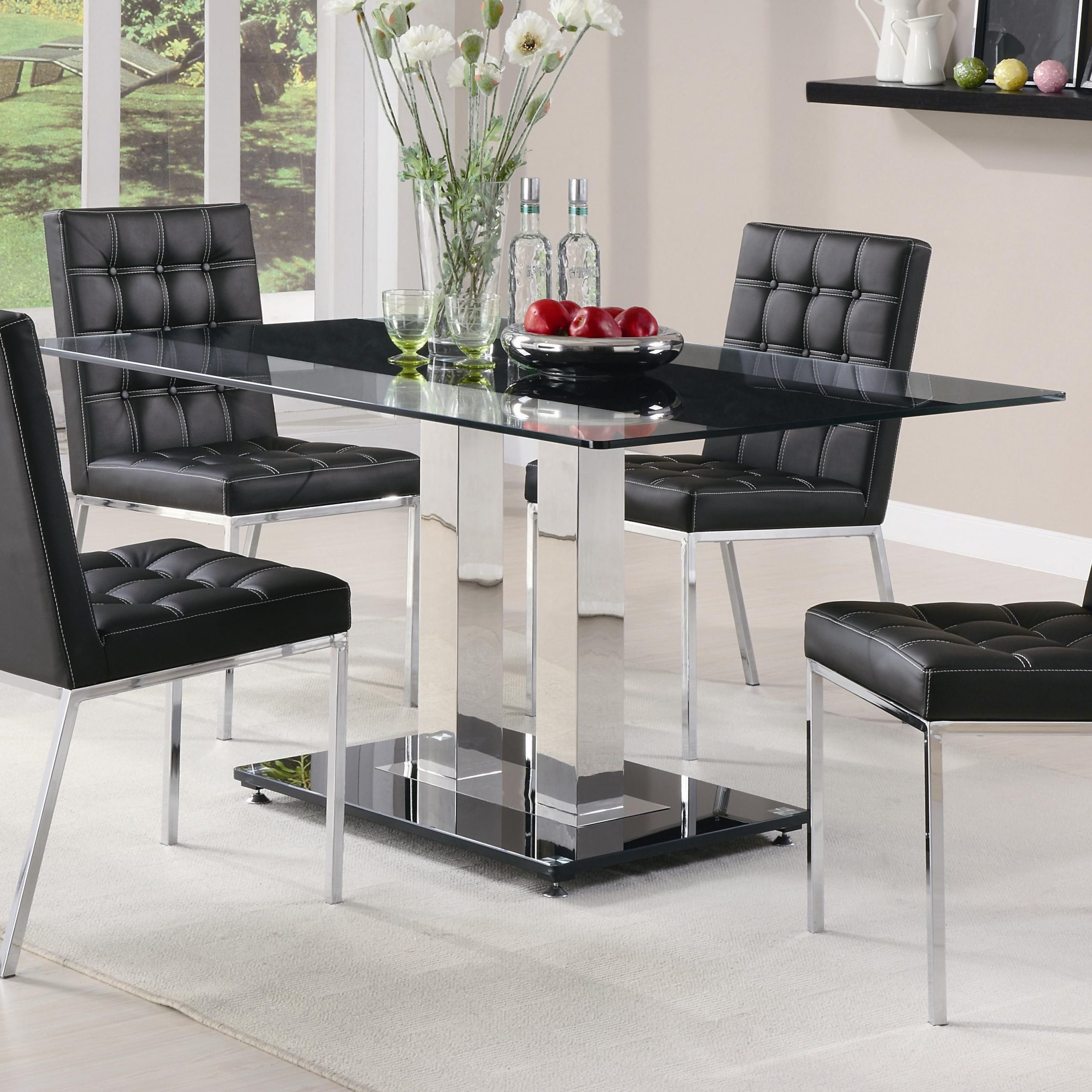 Latest Rolien Chrome Finish Table With Tempered Glass Top (View 8 of 30)