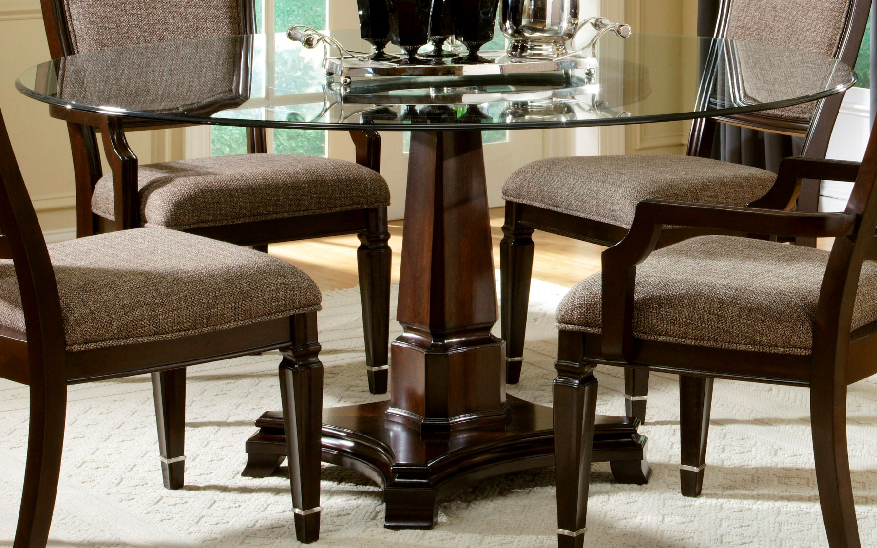 Latest Round Glass Top Dining Tables Inside Glass Top Dining Tables With Wood Base Interior Ideas (View 10 of 30)