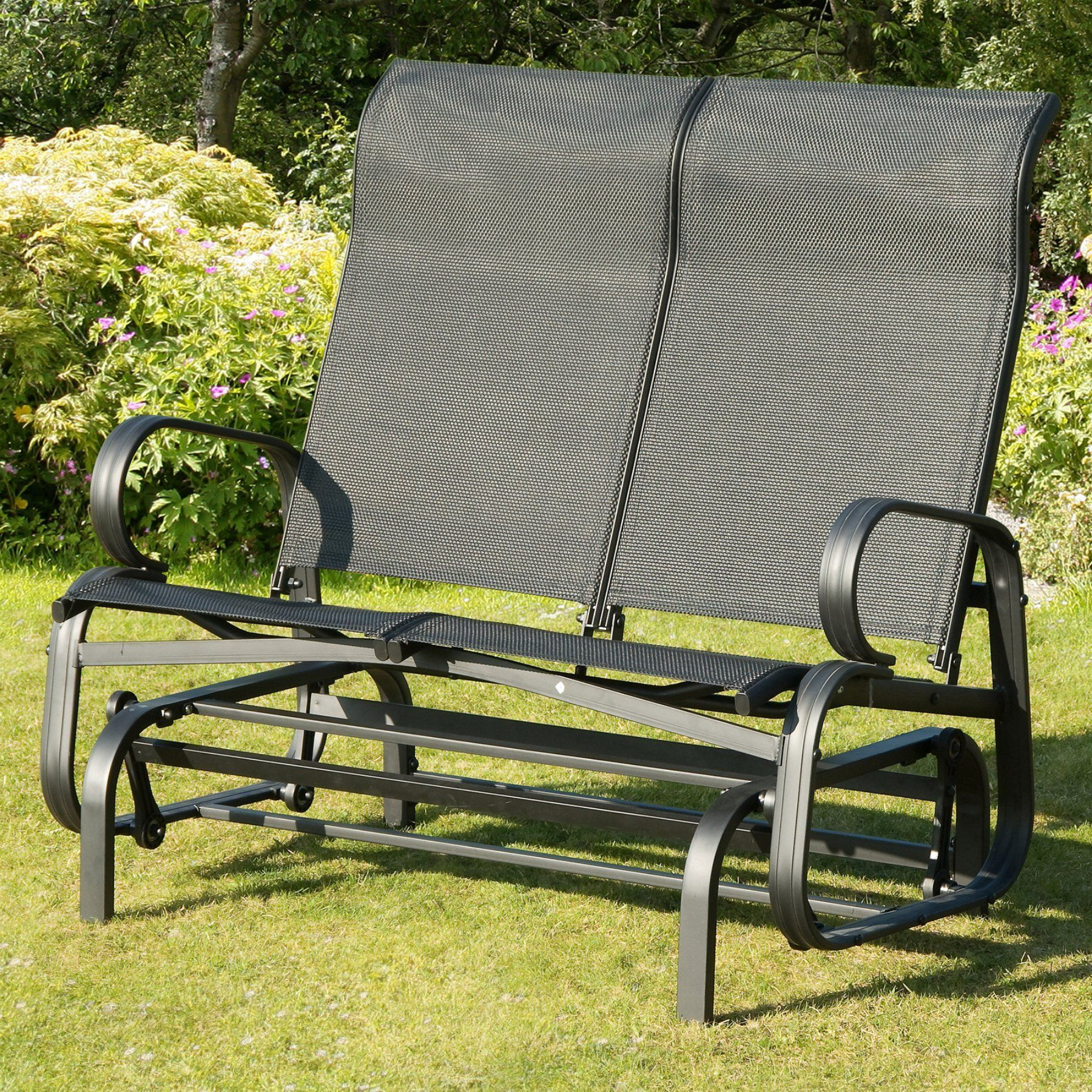 Latest Transcontinental Outdoor Havana Black Sling Outdoor Glider With Regard To Speckled Glider Benches (View 10 of 30)