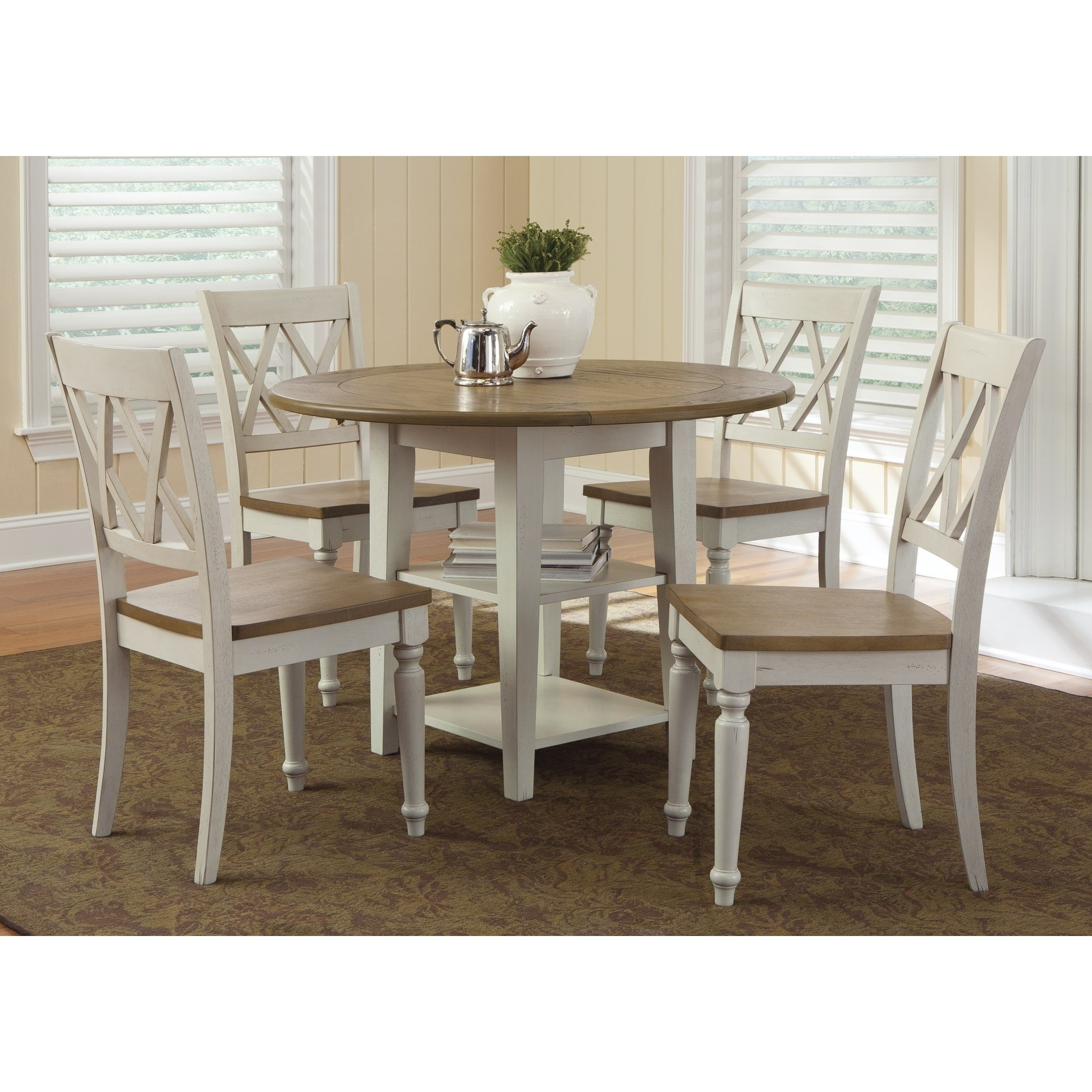Latest Transitional 4 Seating Drop Leaf Casual Dining Tables Inside Al Fresco Two Tone Transitional Drop Leaf Leg Table – Antique White (View 9 of 30)