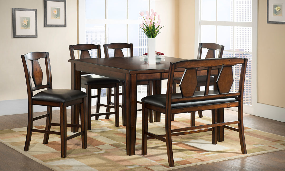 Latest Urban Styles Napa Acacia 5 Piece Counter Height Dining Set Throughout Transitional 4 Seating Square Casual Dining Tables (View 13 of 30)