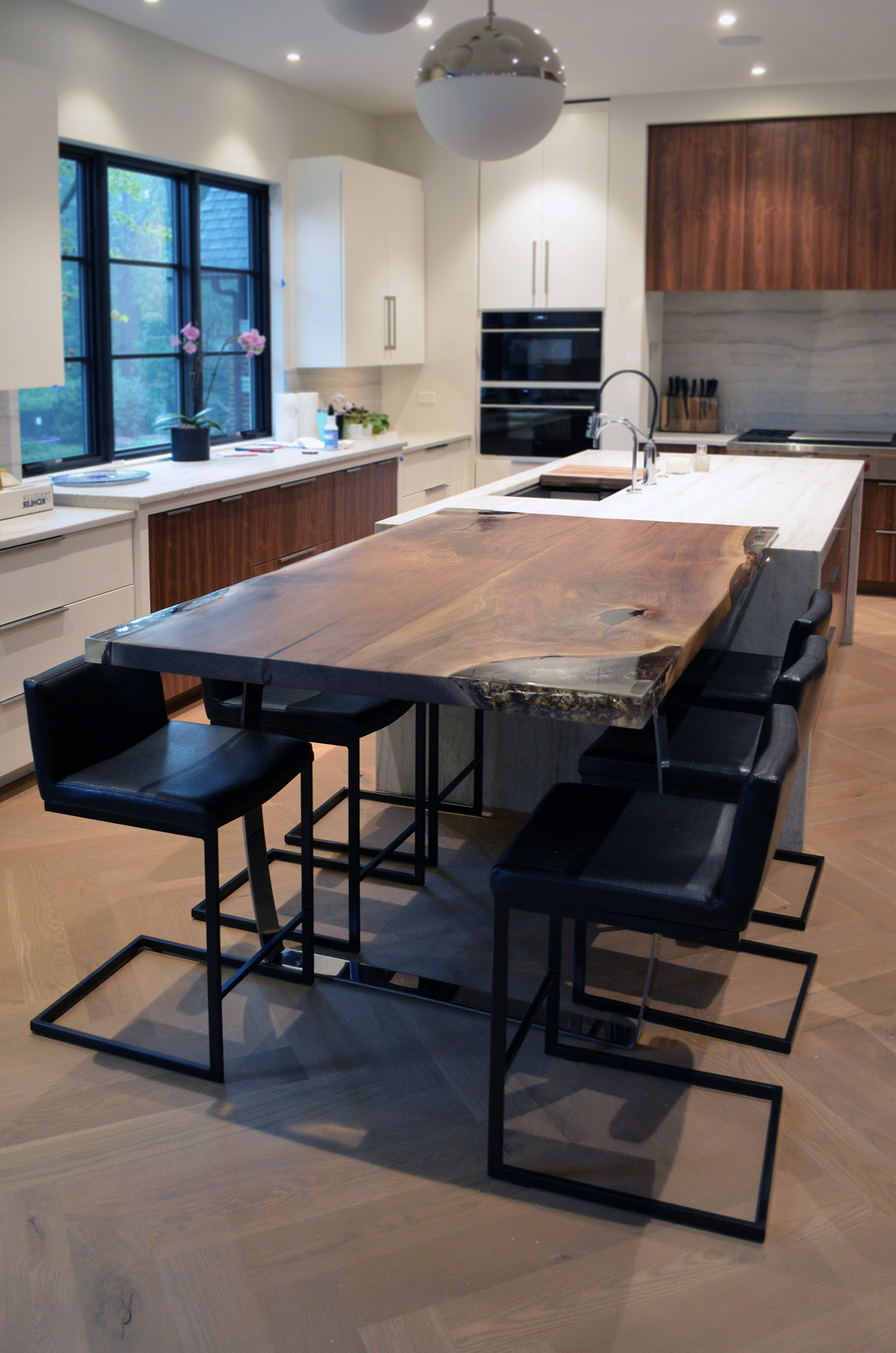 Latest Walnut Finish Live Edge Wood Contemporary Dining Tables For Live Edge Walnut Epoxy Inlay Dining Table – Abodeacious (View 21 of 30)