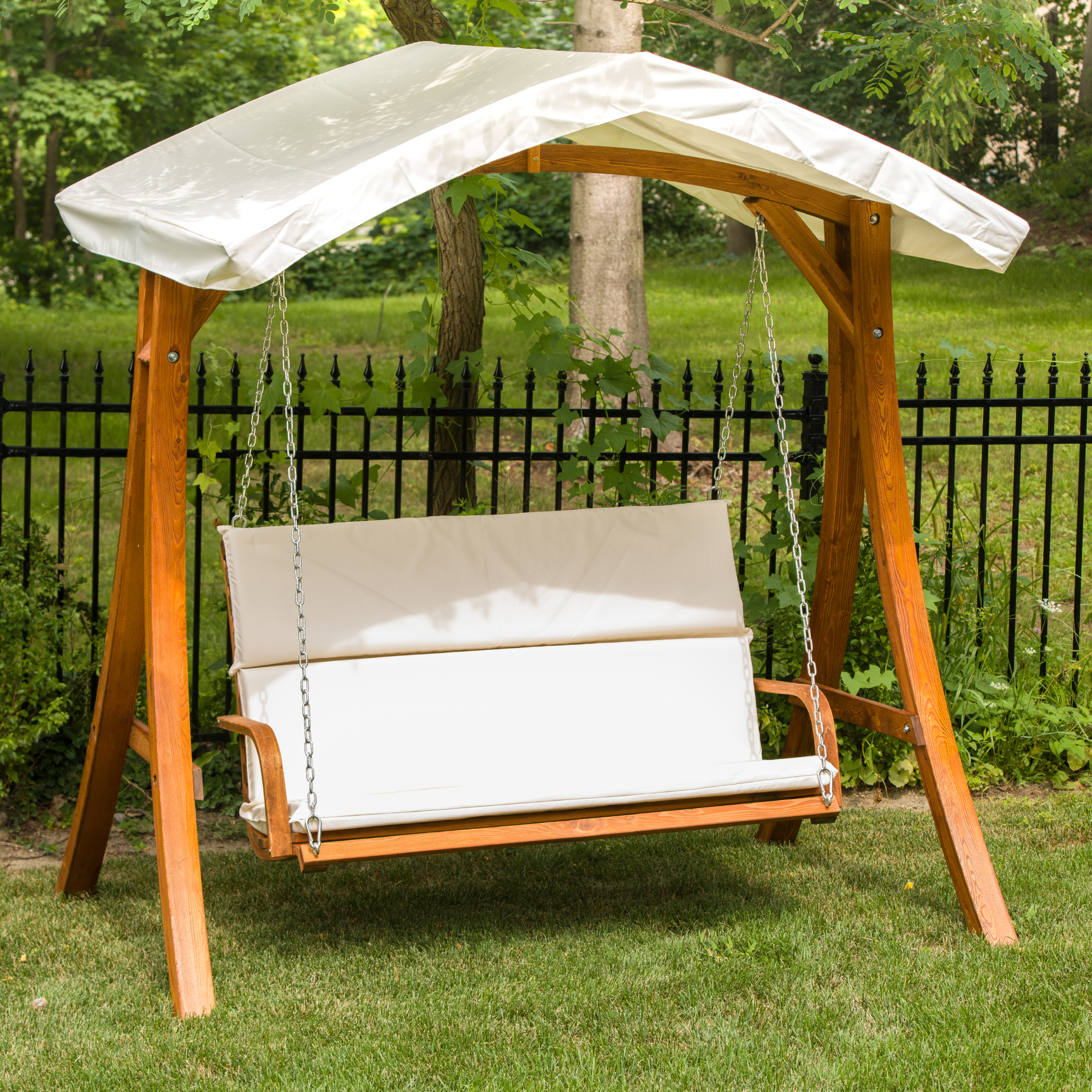 Leisure Season Ltd – Wooden Swing Seater With Canopy Intended For Well Liked 3 Seater Swings With Frame And Canopy (View 22 of 30)
