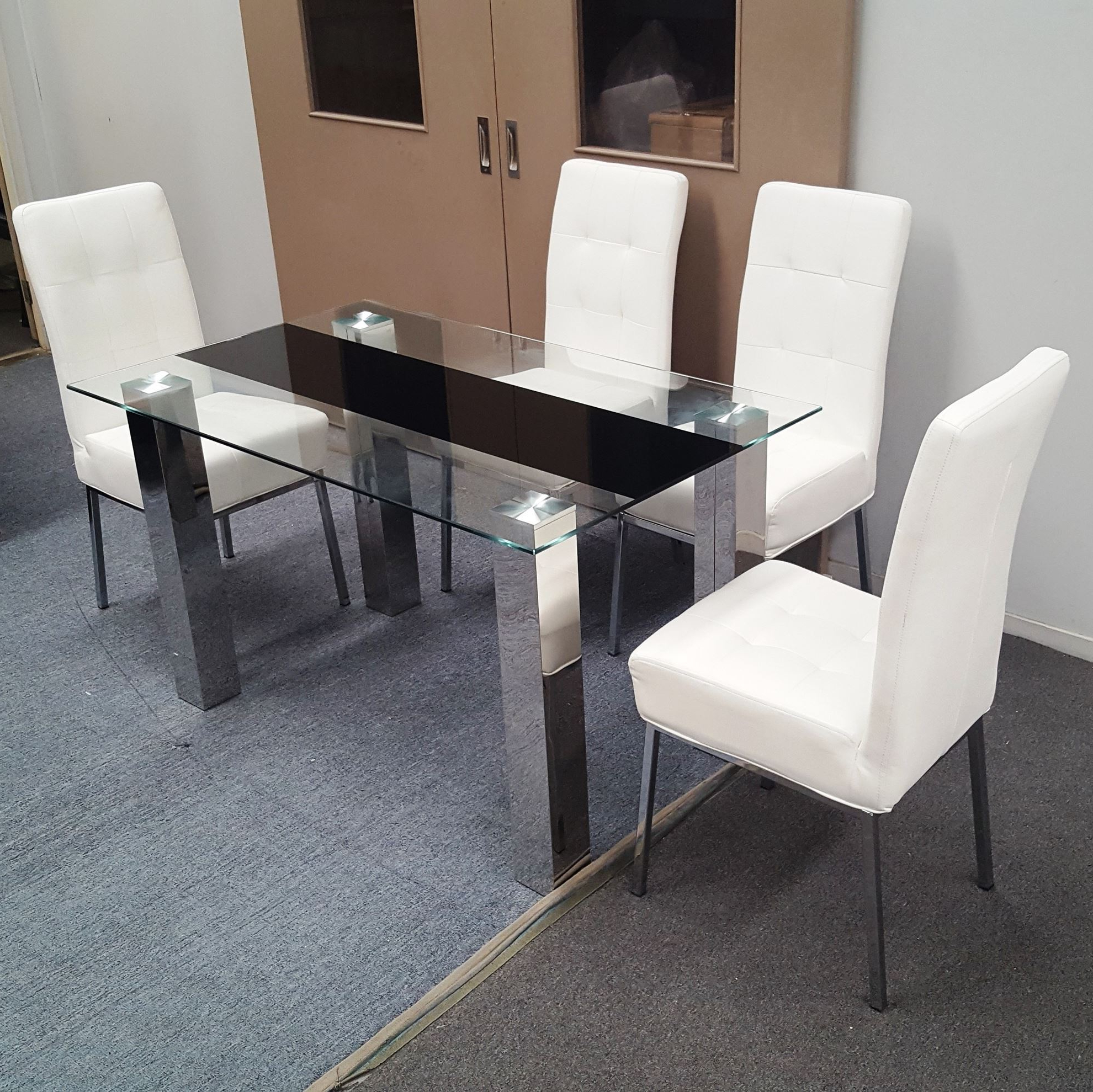 Levi Dining Table Tempered Glass 1300mm X 800mm (table Only) Regarding Well Known Chrome Dining Tables With Tempered Glass (View 24 of 30)