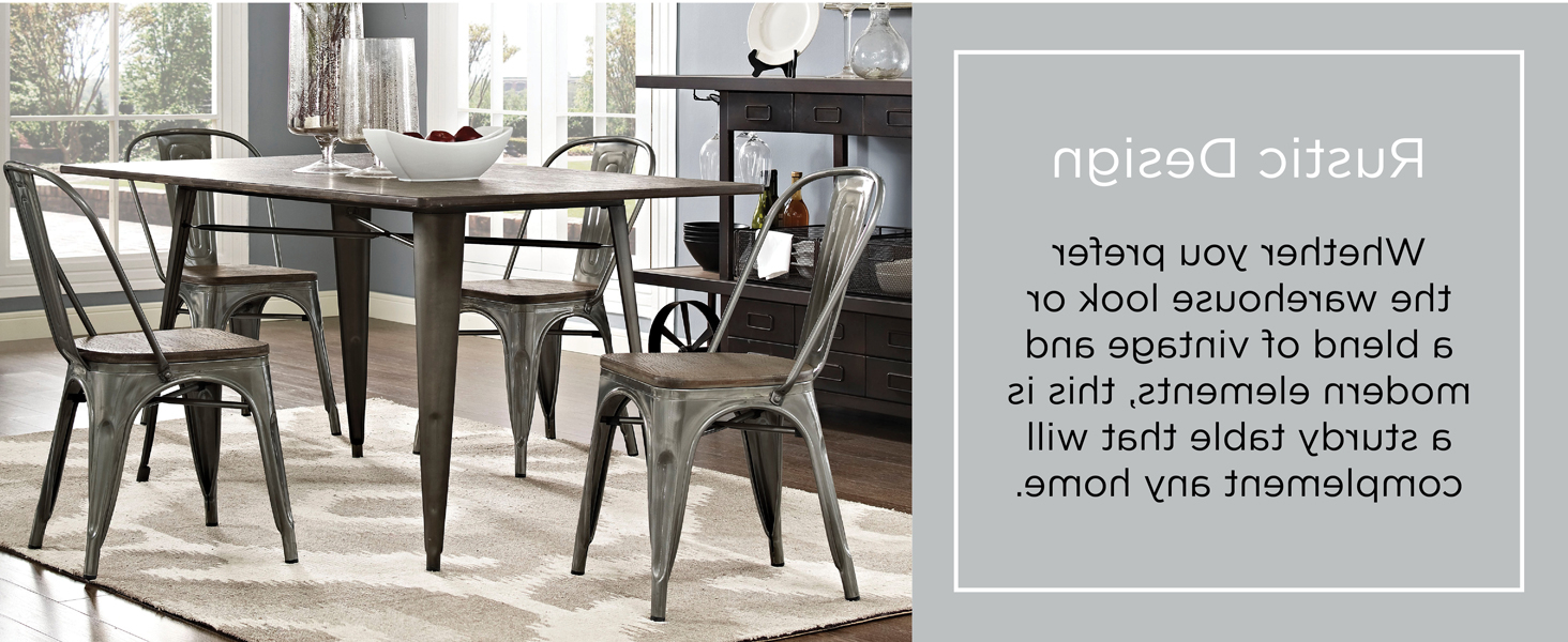 """Lexmod Mo Eei 2034 Brn Alacrity Rustic Modern Farmhouse Wood Rectangle With Steel Legs, 59"""", Brown Regarding Trendy Distressed Grey Finish Wood Classic Design Dining Tables (View 13 of 30)"""