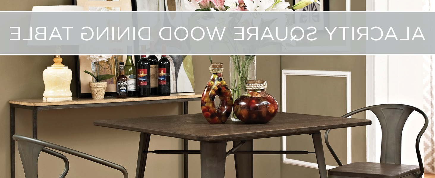 """Lexmod Mo Eei 2036 Brn Alacrity Rustic Modern Farmhouse Wood Square With Steel Legs, 36"""", Brown Inside Newest Vintage Cream Frame And Espresso Bamboo Dining Tables (View 25 of 30)"""
