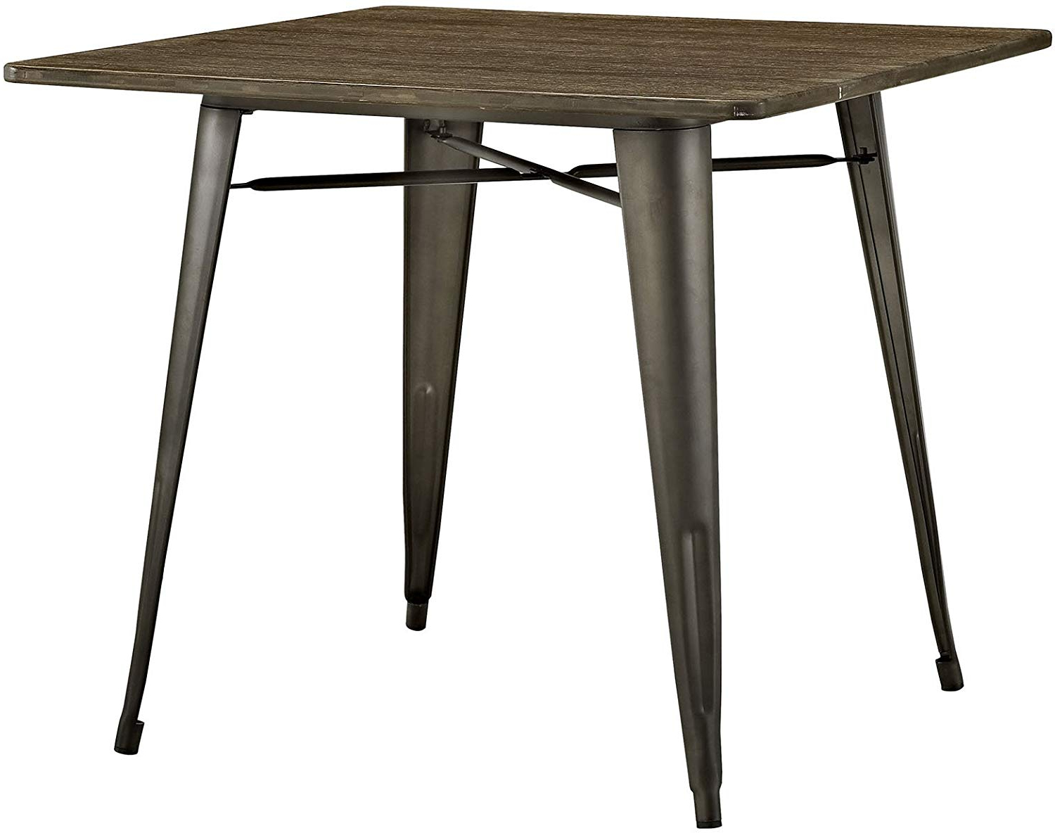 """Lexmod Mo Eei 2036 Brn Alacrity Rustic Modern Farmhouse Wood Square With Steel Legs, 36"""", Brown Pertaining To Most Popular Vintage Cream Frame And Espresso Bamboo Dining Tables (View 6 of 30)"""