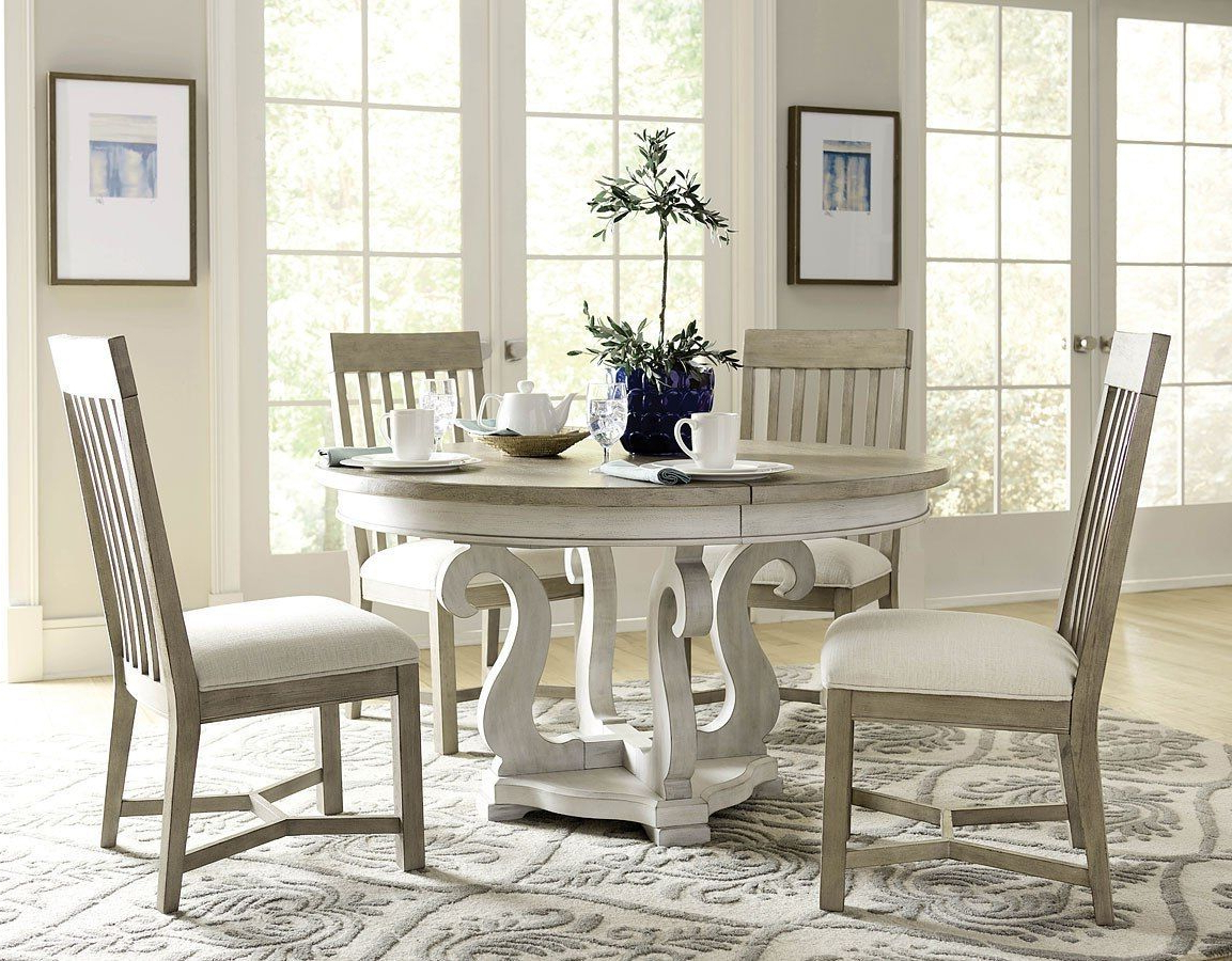 Litchfield Sussex Round Dining Room Set W/ Driftwood Chairs Throughout Most Popular Transitional Driftwood Casual Dining Tables (View 11 of 30)