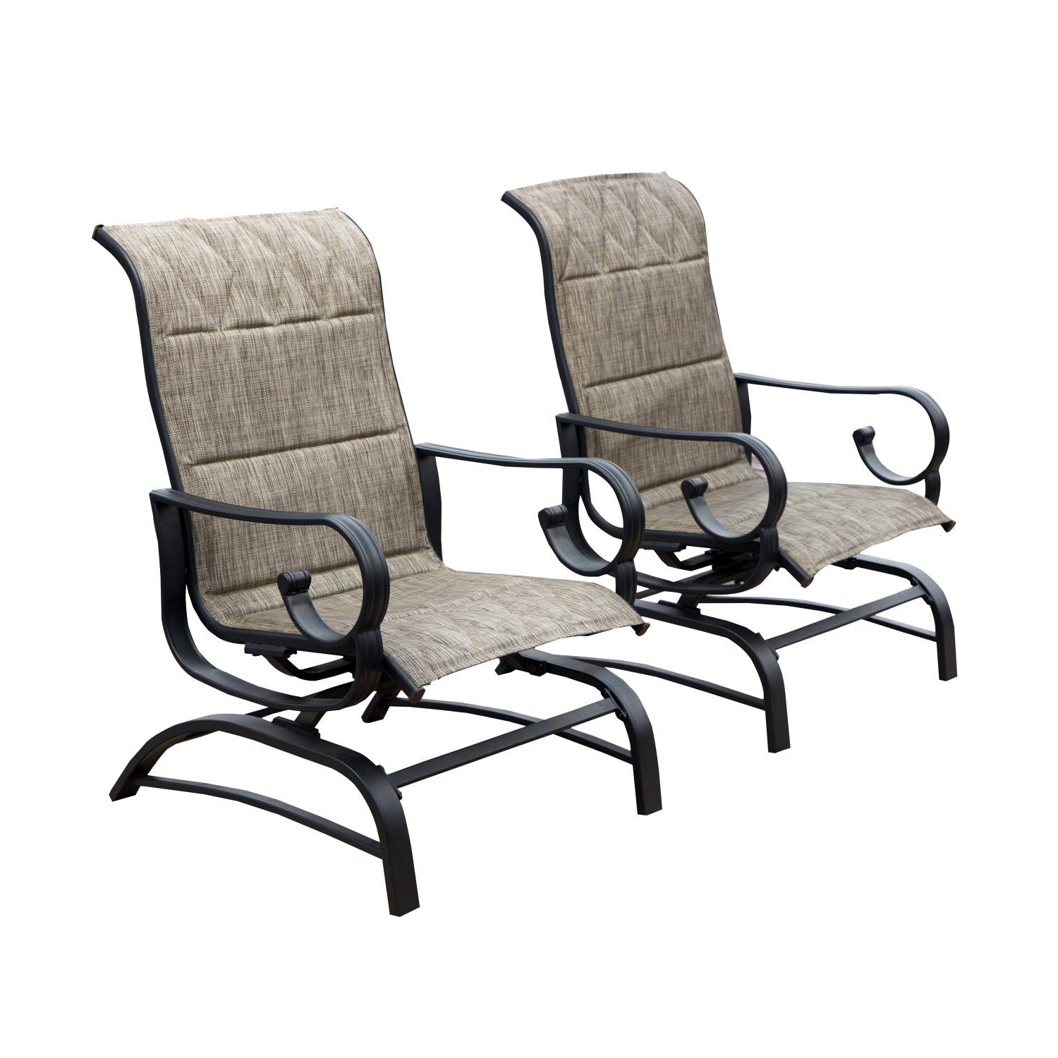 Lokatse Home Outdoor Patio Glider Chair Swing Furniture Seating Rocking Glider Chairs Set Of 2,grey Inside Newest Outdoor Patio Swing Glider Bench Chair S (View 16 of 30)