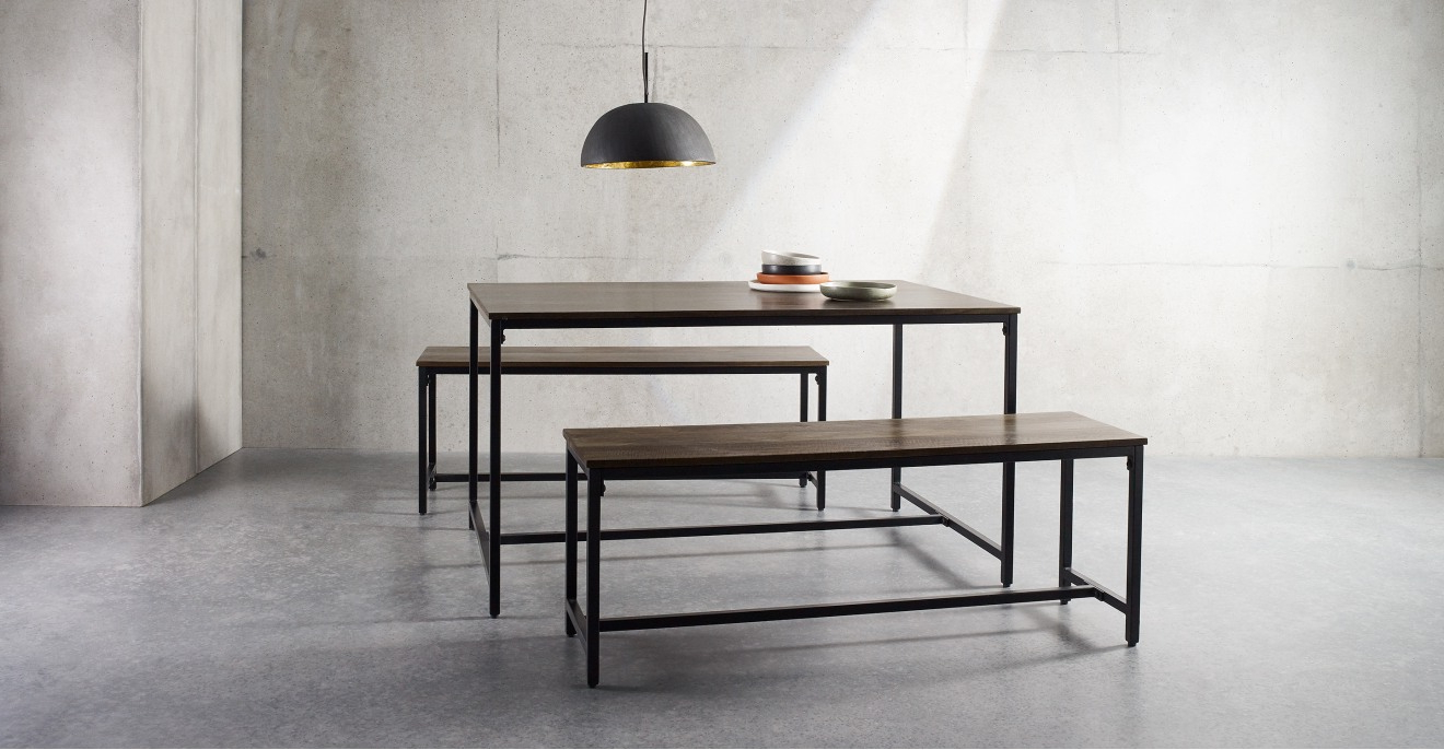 Lomond Compact Dining Table And Bench Set, Mango Wood And In Well Liked Iron Dining Tables With Mango Wood (View 12 of 30)