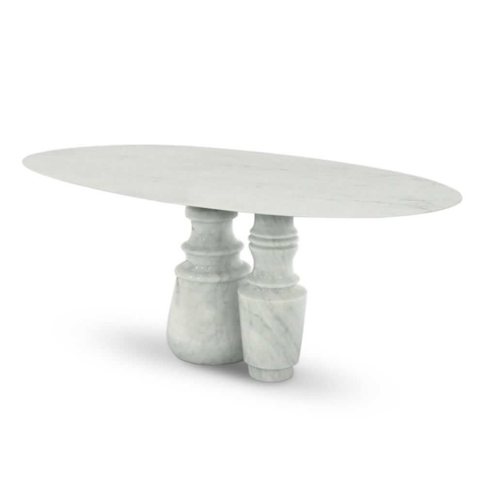 Long Dining Tables With Polished Black Stainless Steel Base Pertaining To Famous Contemporary Dining Table / Marble / Marble Base / Oval (View 26 of 30)