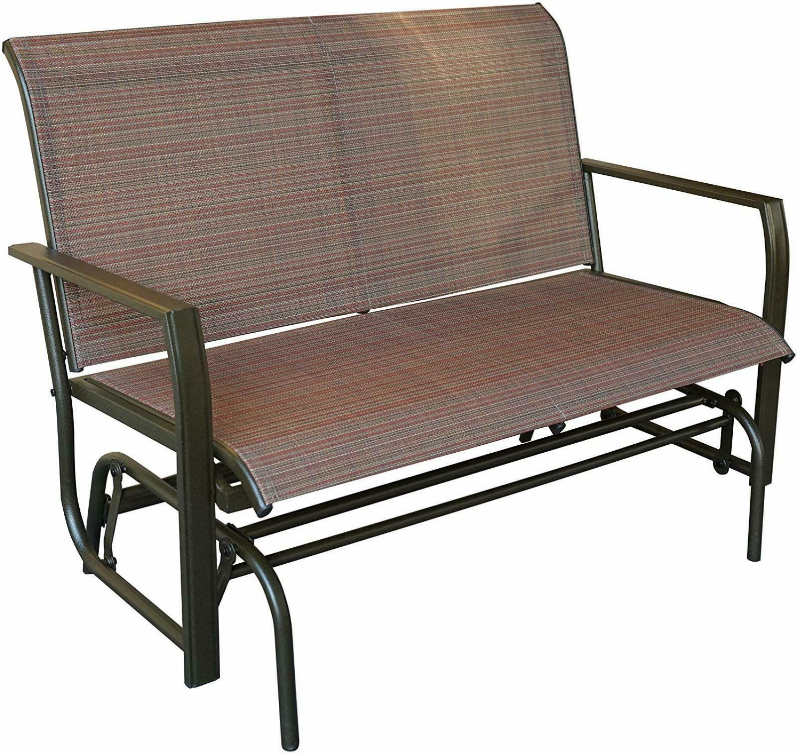 Love Seat Swing Bench For Patio Textile And Sturdy Frame Glider Rocker Tan Brown In Fashionable Rocking Love Seats Glider Swing Benches With Sturdy Frame (View 9 of 30)