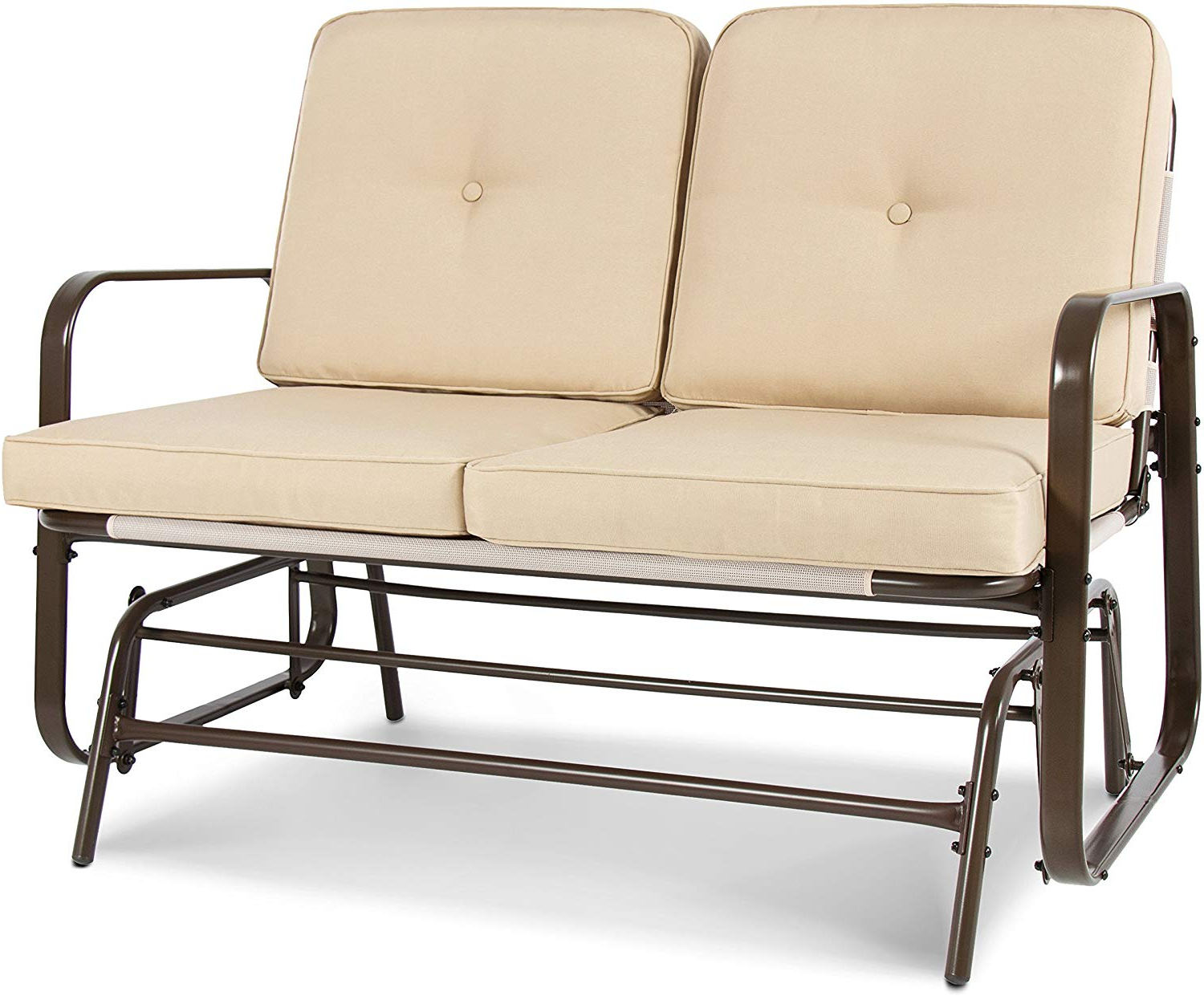 Loveseat Glider Benches In Widely Used Best Choice Products 2 Person Outdoor Mesh Patio Double Glider W/ Tempered Glass Attached Table, Beige (View 16 of 30)