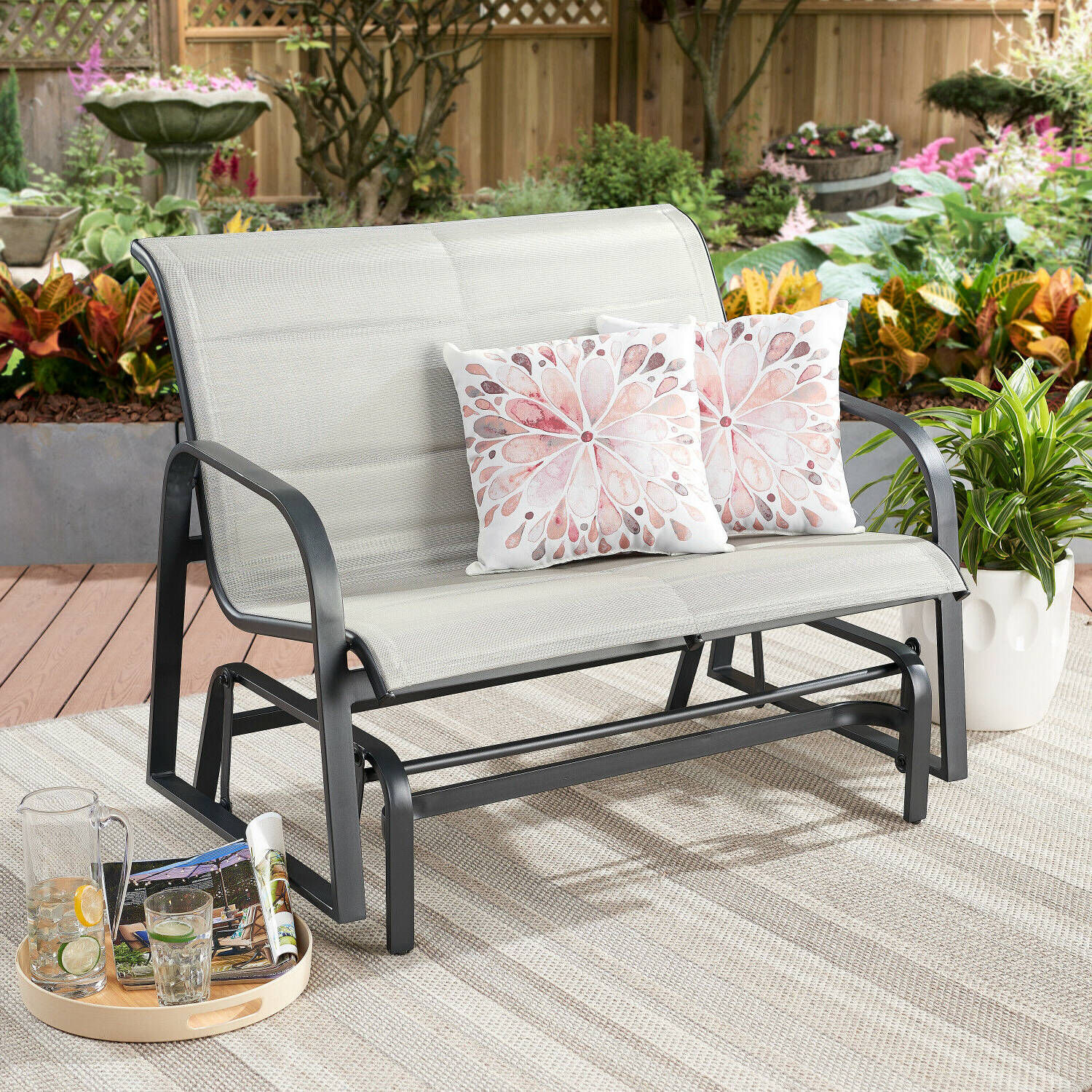 Loveseat Glider Benches With Cushions In Favorite Montrose Padded Sling Glider Bench Outdoor Garden Patio Porch Furniture Chair (View 29 of 30)
